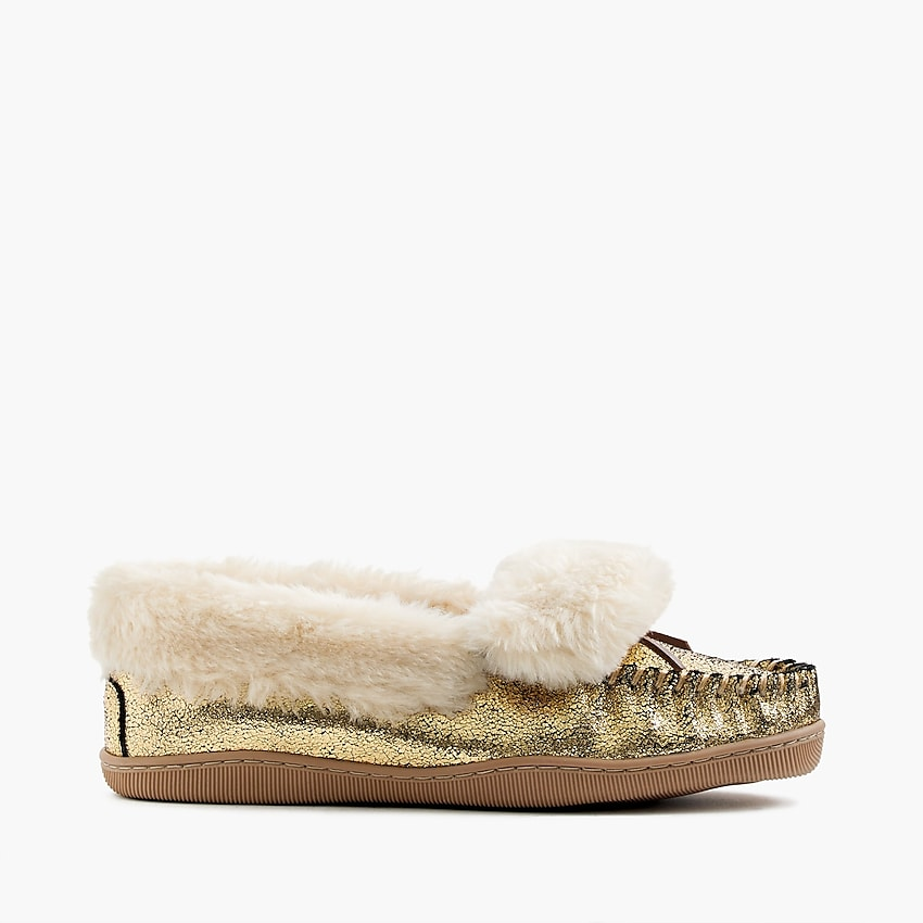 cad5199e769 Women'S Crackled Metallic Suede Lodge Moccasins : Women's Slippers ...
