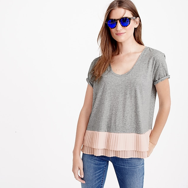 Pleated chiffon-hem T-shirt