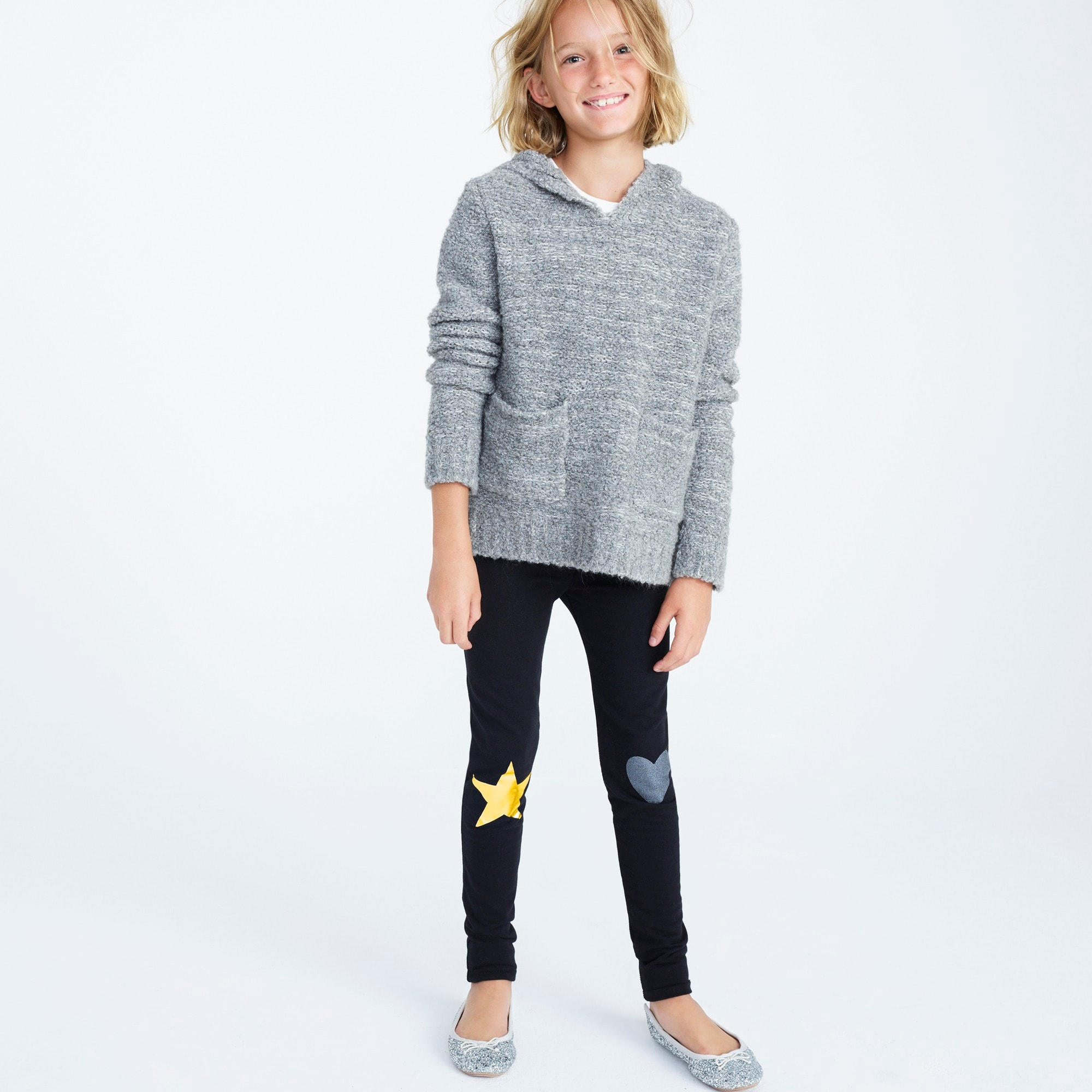 Girls' cozy everyday leggings with metallic patches