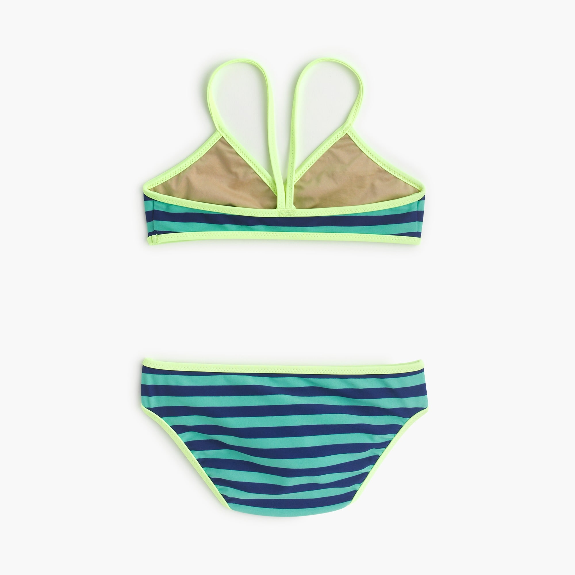 Girls' crossover bikini set in bright stripe