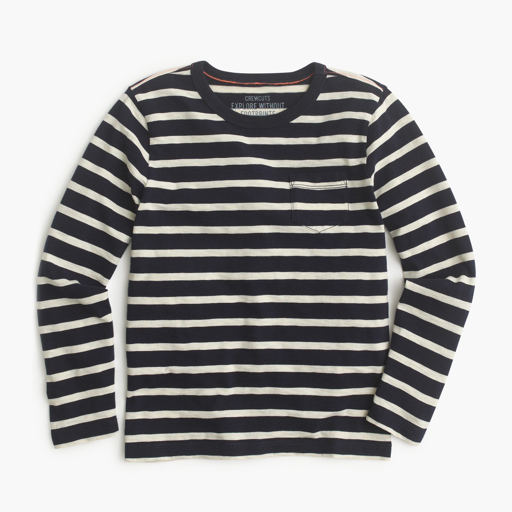 Image 1 for Boys' long-sleeve pocket T-shirt in nautical stripe