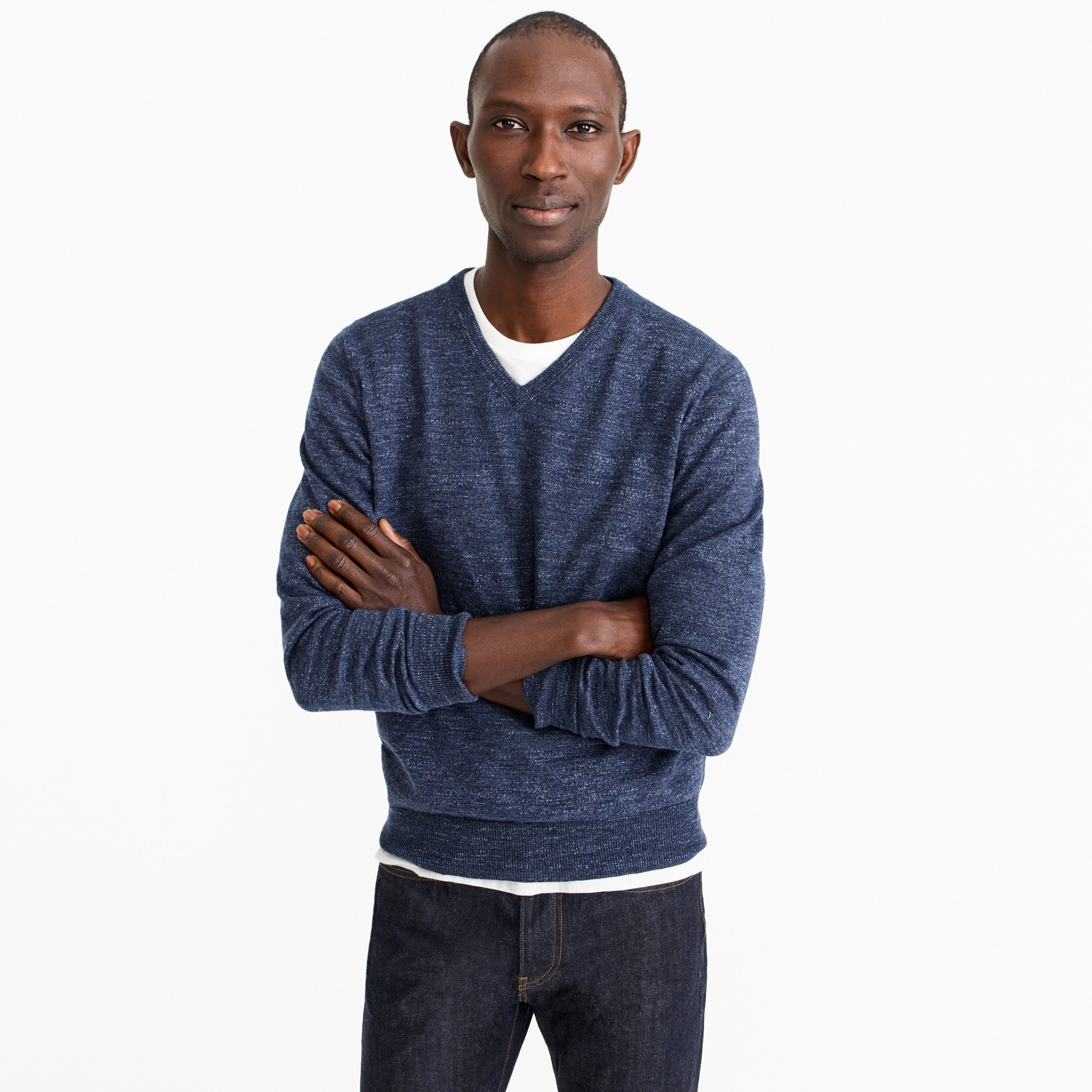 Image 1 for Slim rugged cotton V-neck sweater