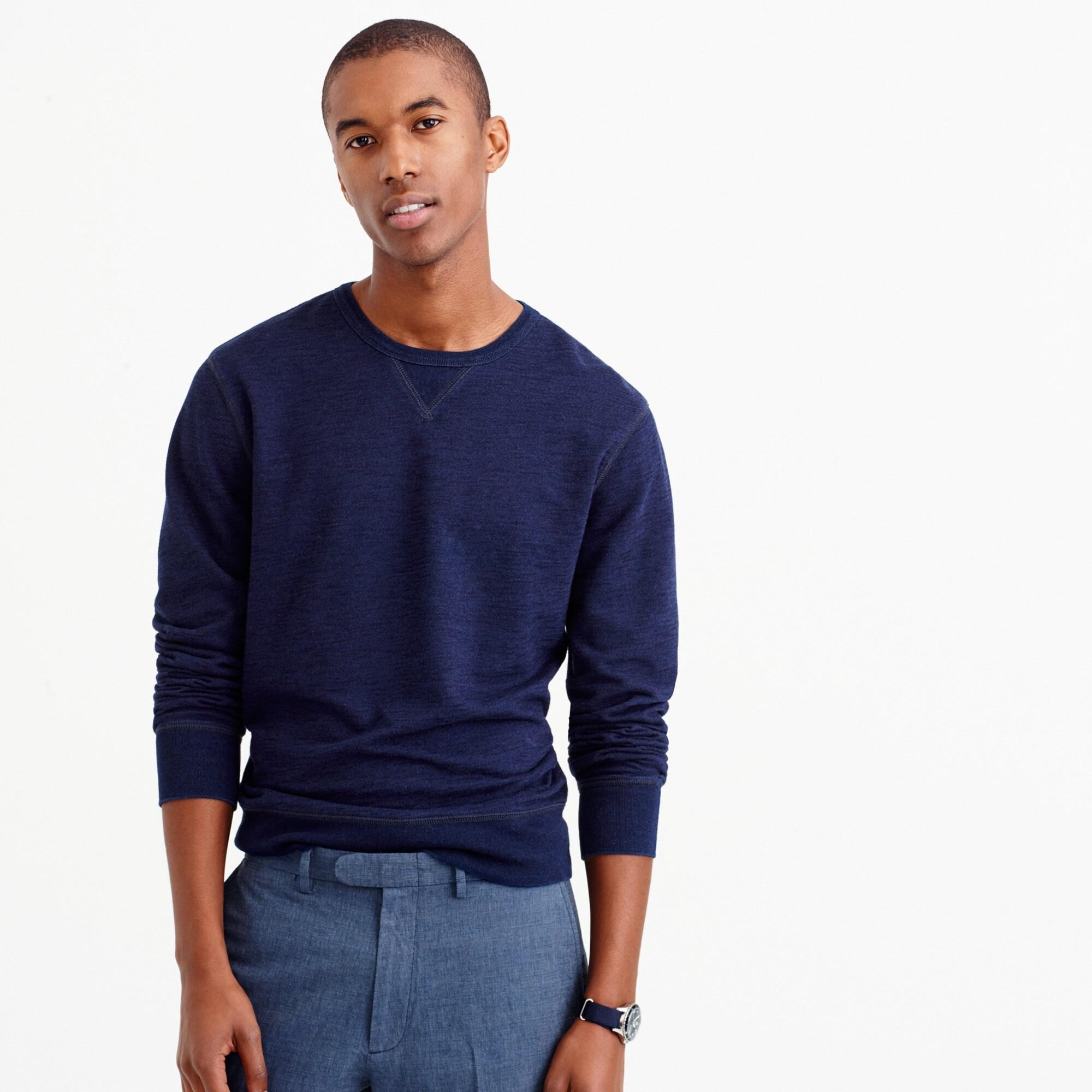 Wallace & Barnes textured cotton long-sleeve indigo T-shirt