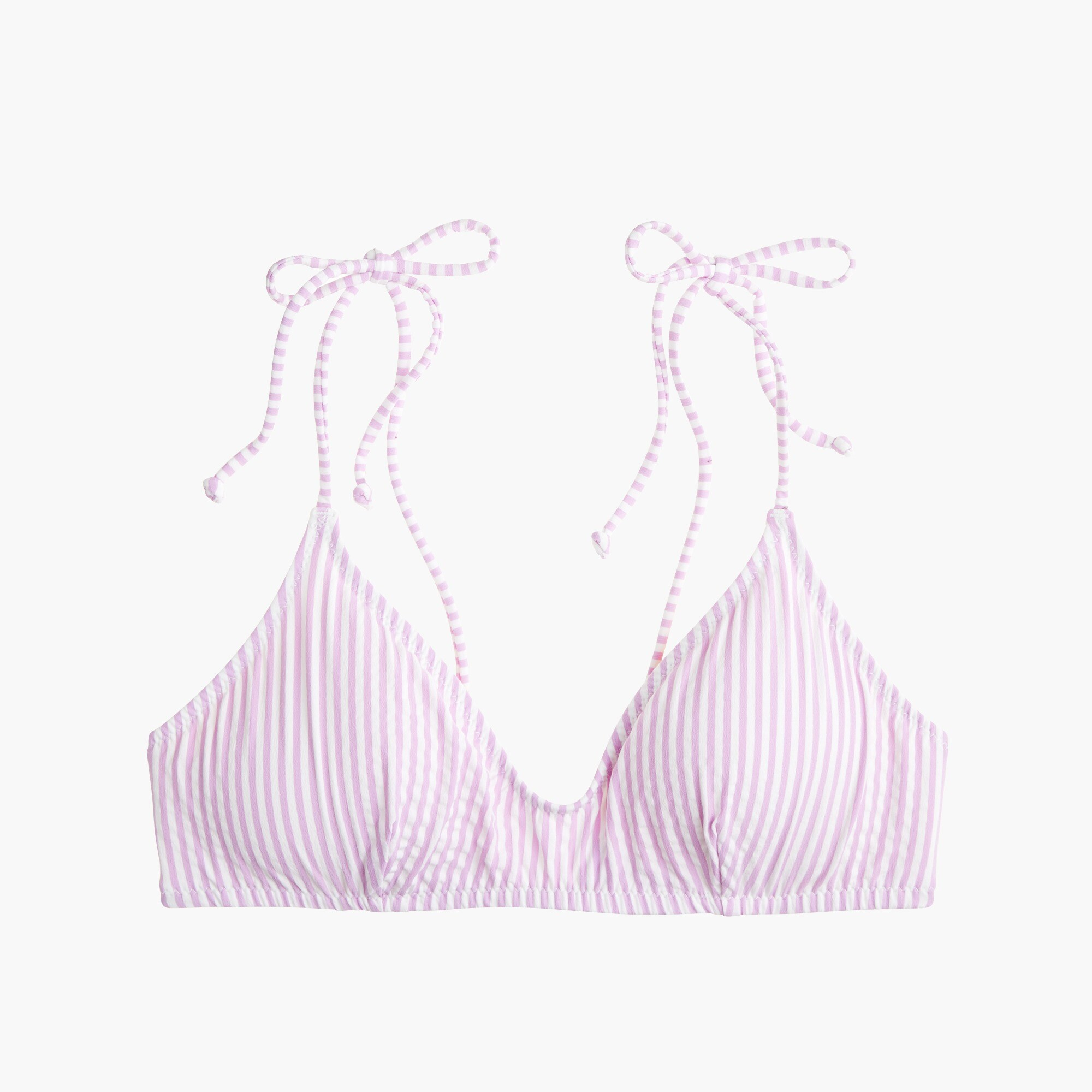 Shoulder-tie french bikini top in seersucker