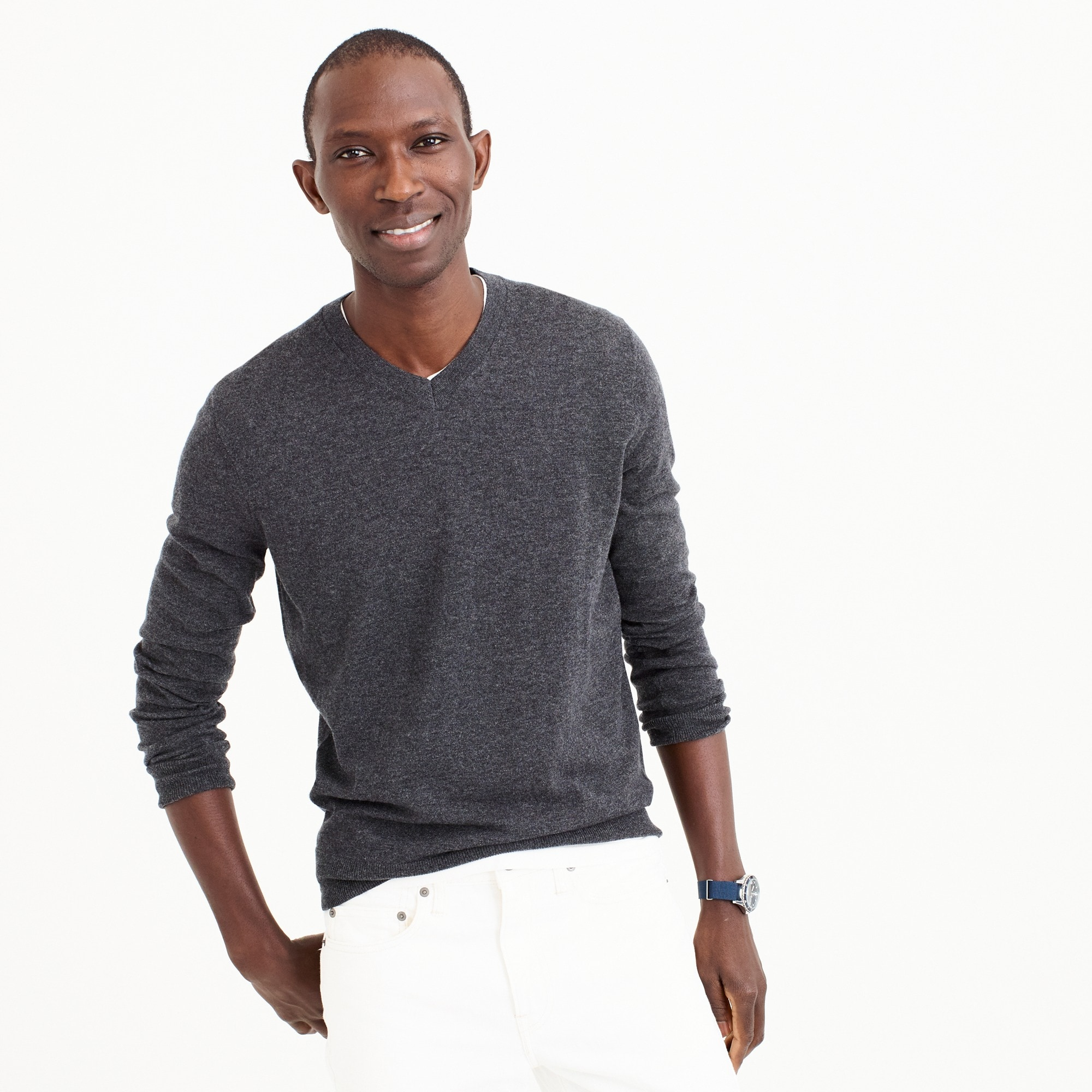 tall lightweight italian cashmere v-neck sweater : men's cashmere