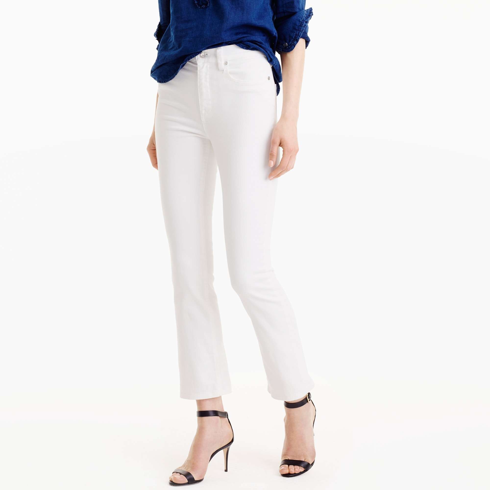 billie demi-boot crop jean in white : women cropped