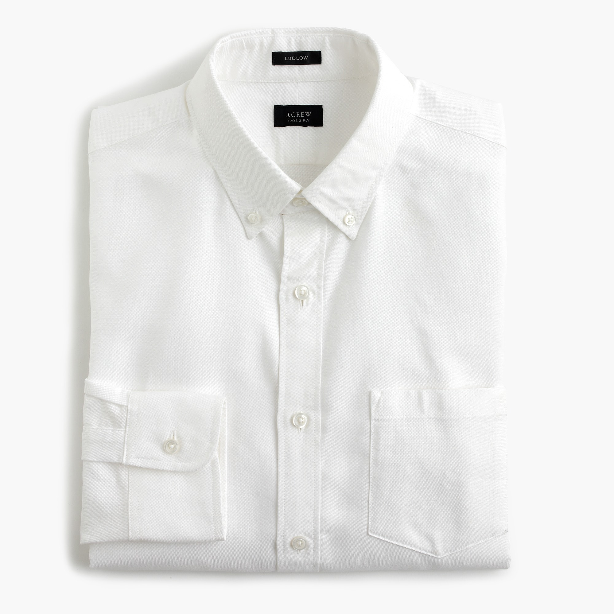 Image 1 for Ludlow Slim-fit cotton oxford shirt in white