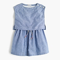 Girls' linen-cotton tiered dress
