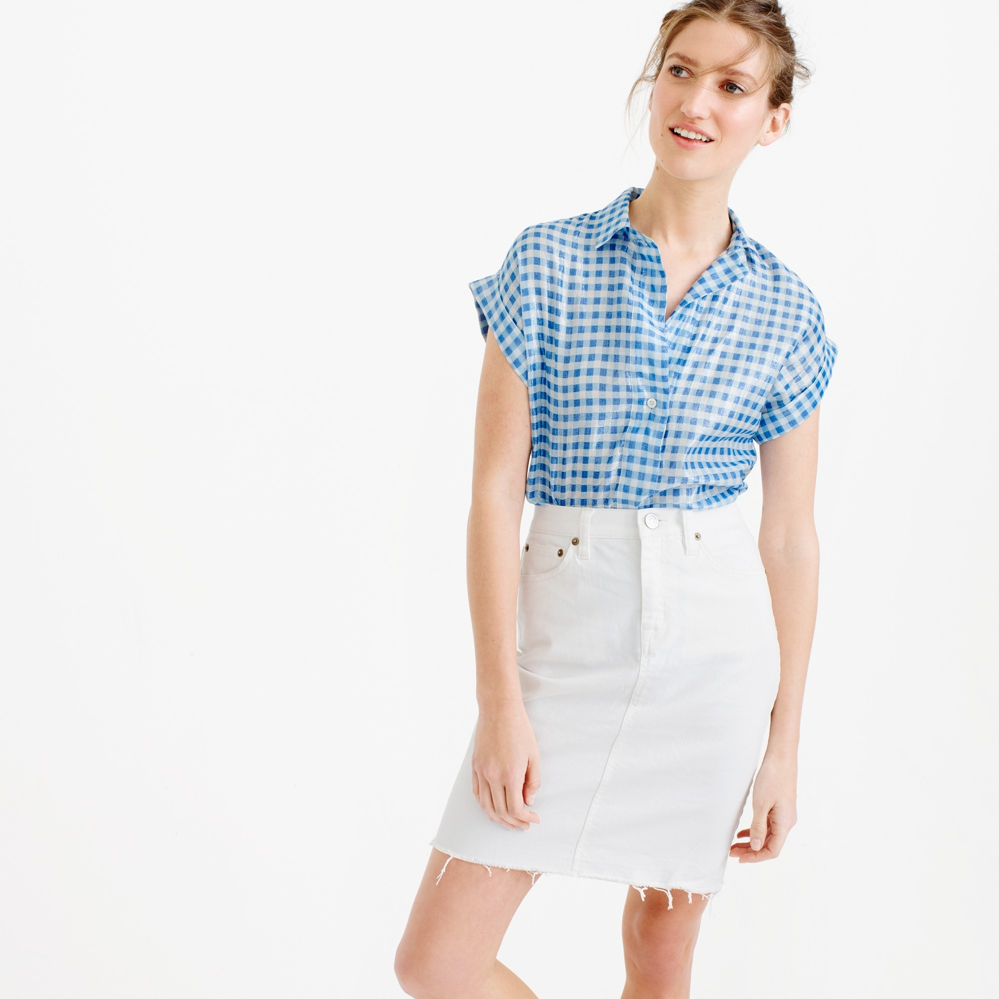 Petite short-sleeve popover shirt in metallic gingham