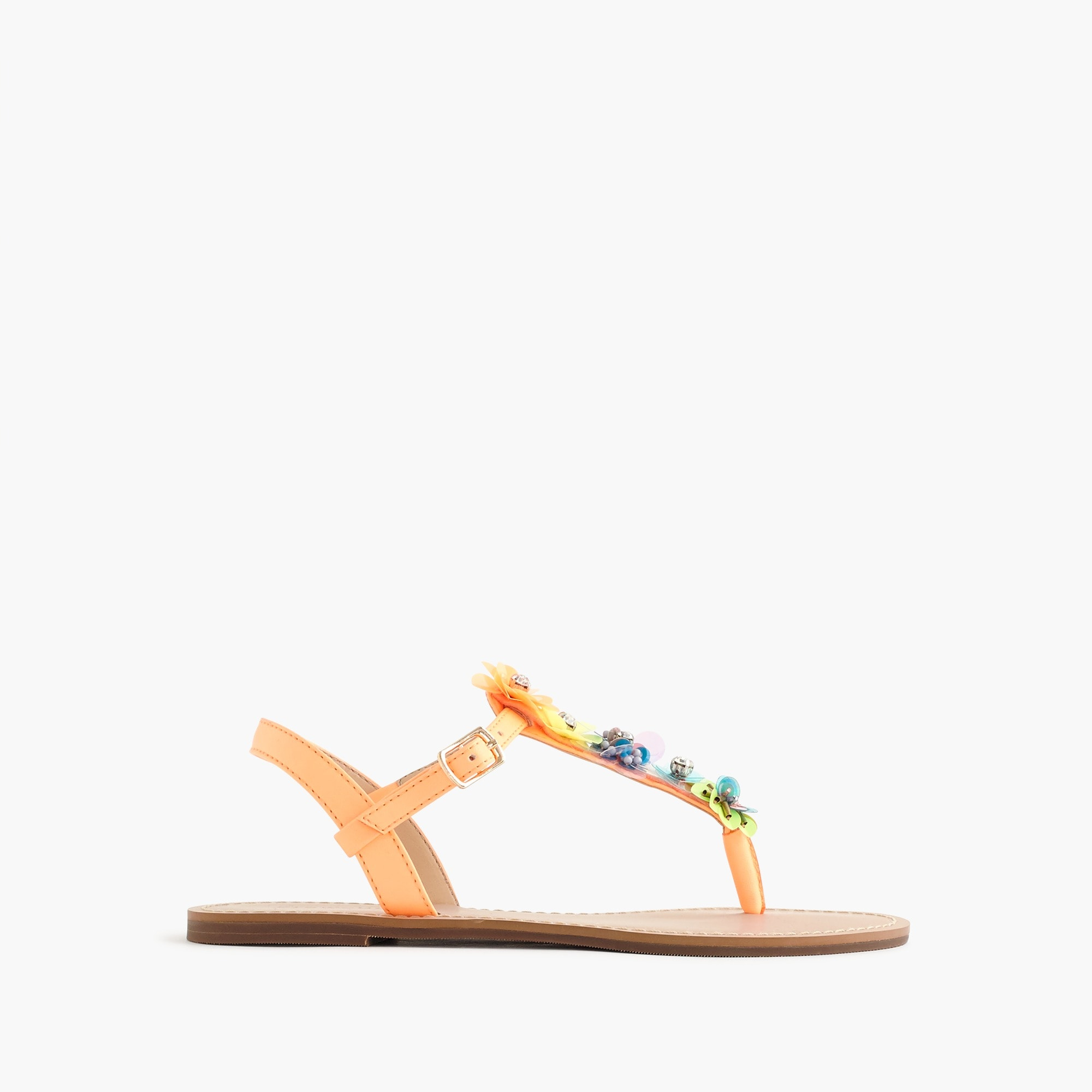 Girls' embellished T-strap sandals