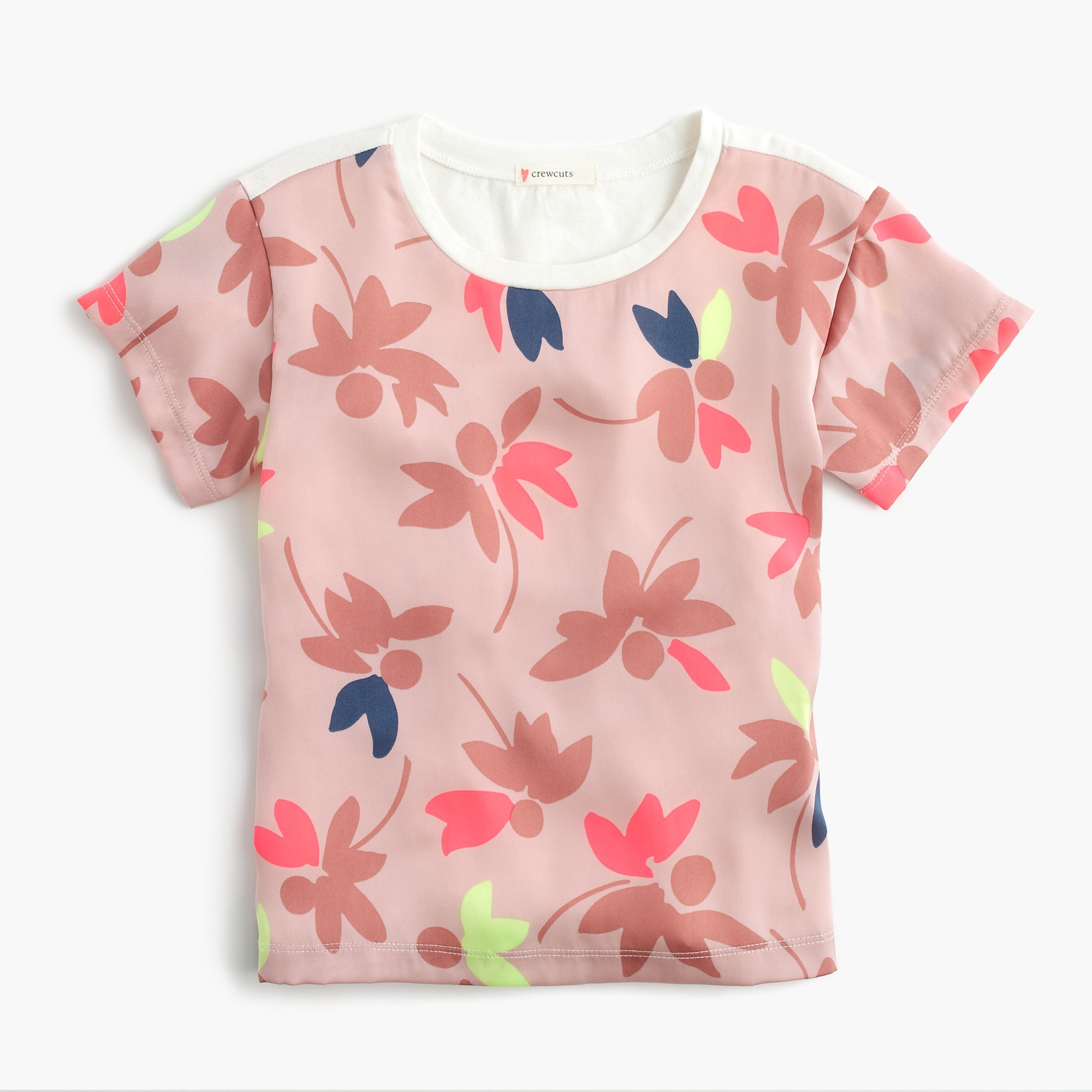 girls' combo t-shirt in colorful leaf print : girl short-sleeve t-shirts