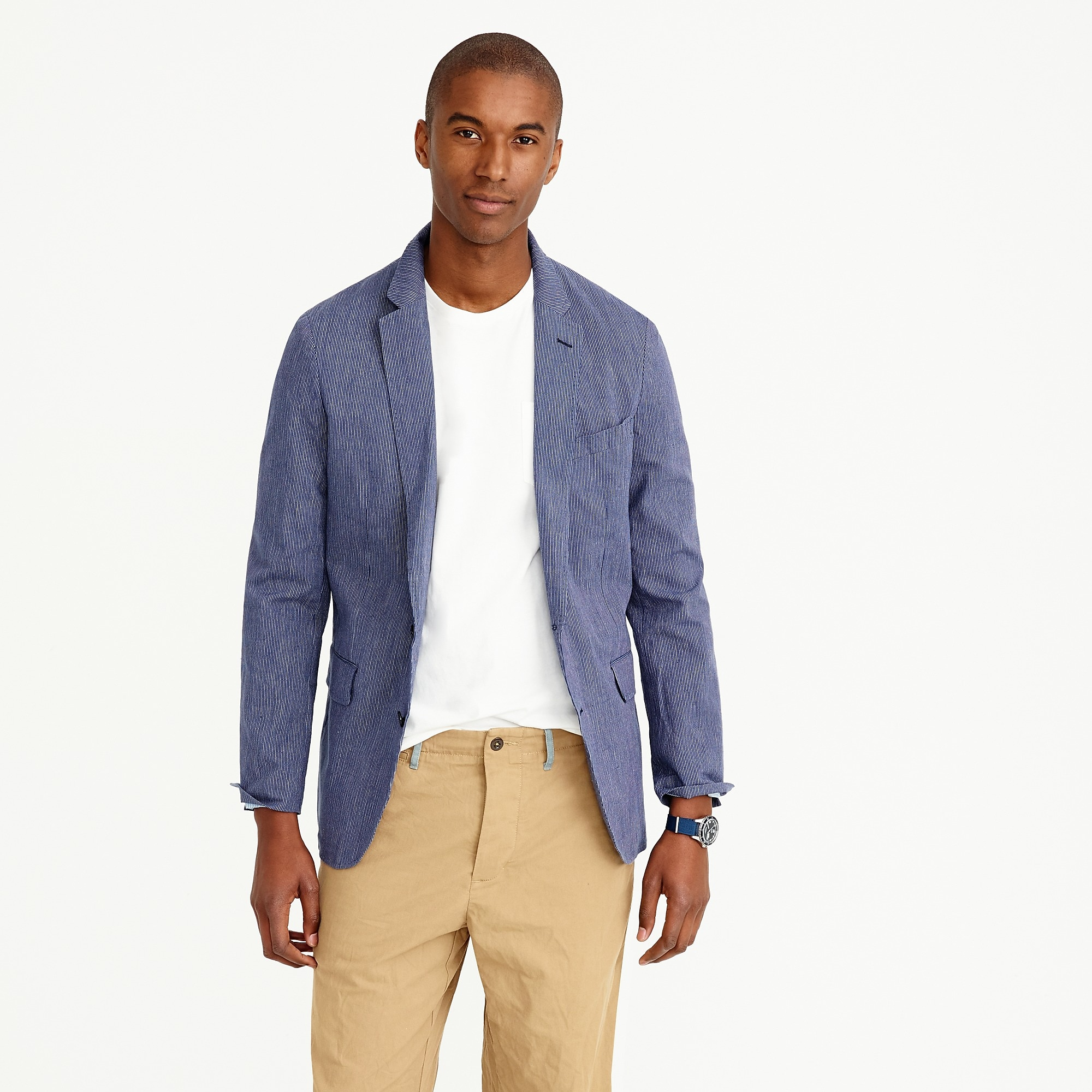 Ludlow summerweight cotton-linen blazer in navy fine stripe : Men ...