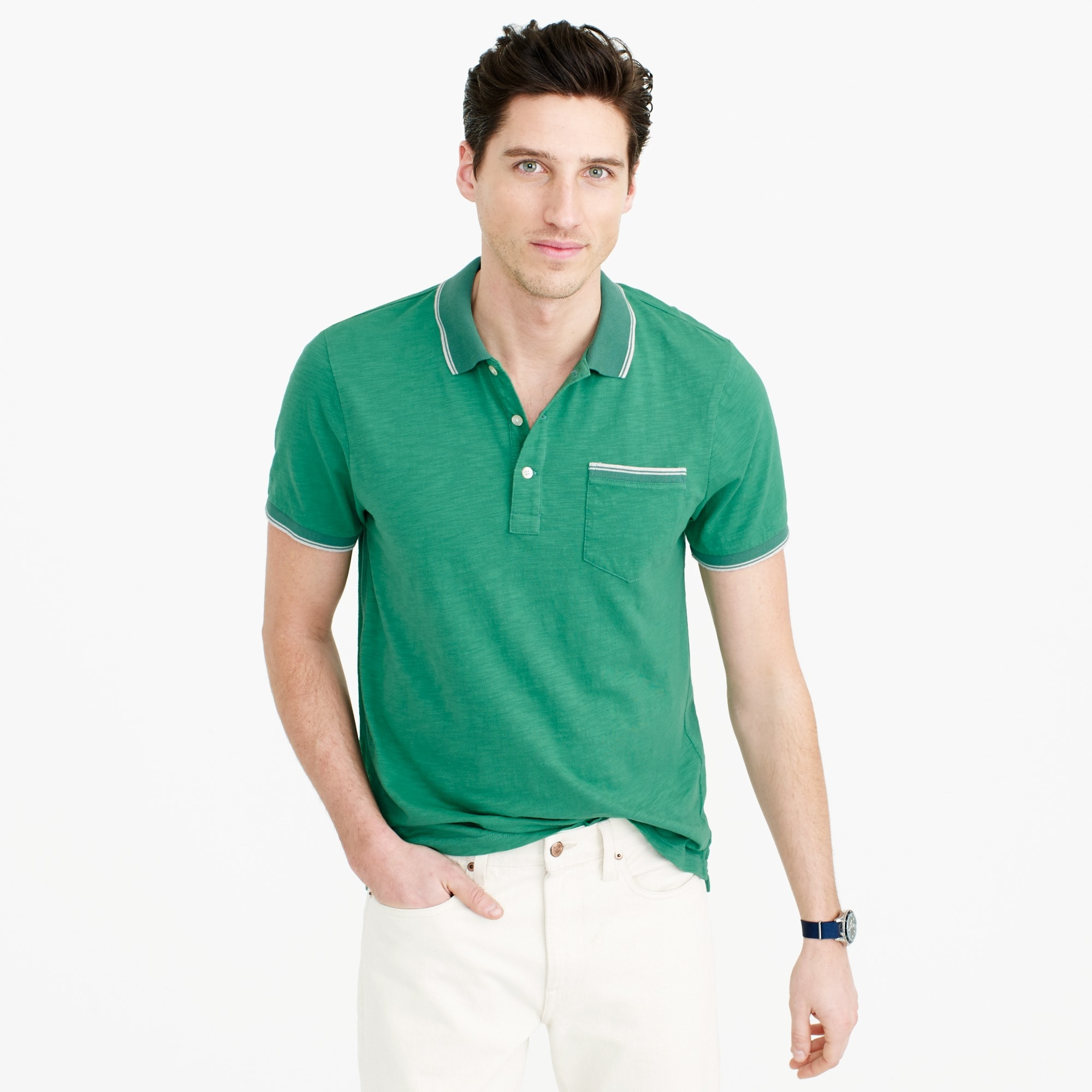tall textured cotton tipped polo shirt : men t-shirts & polos