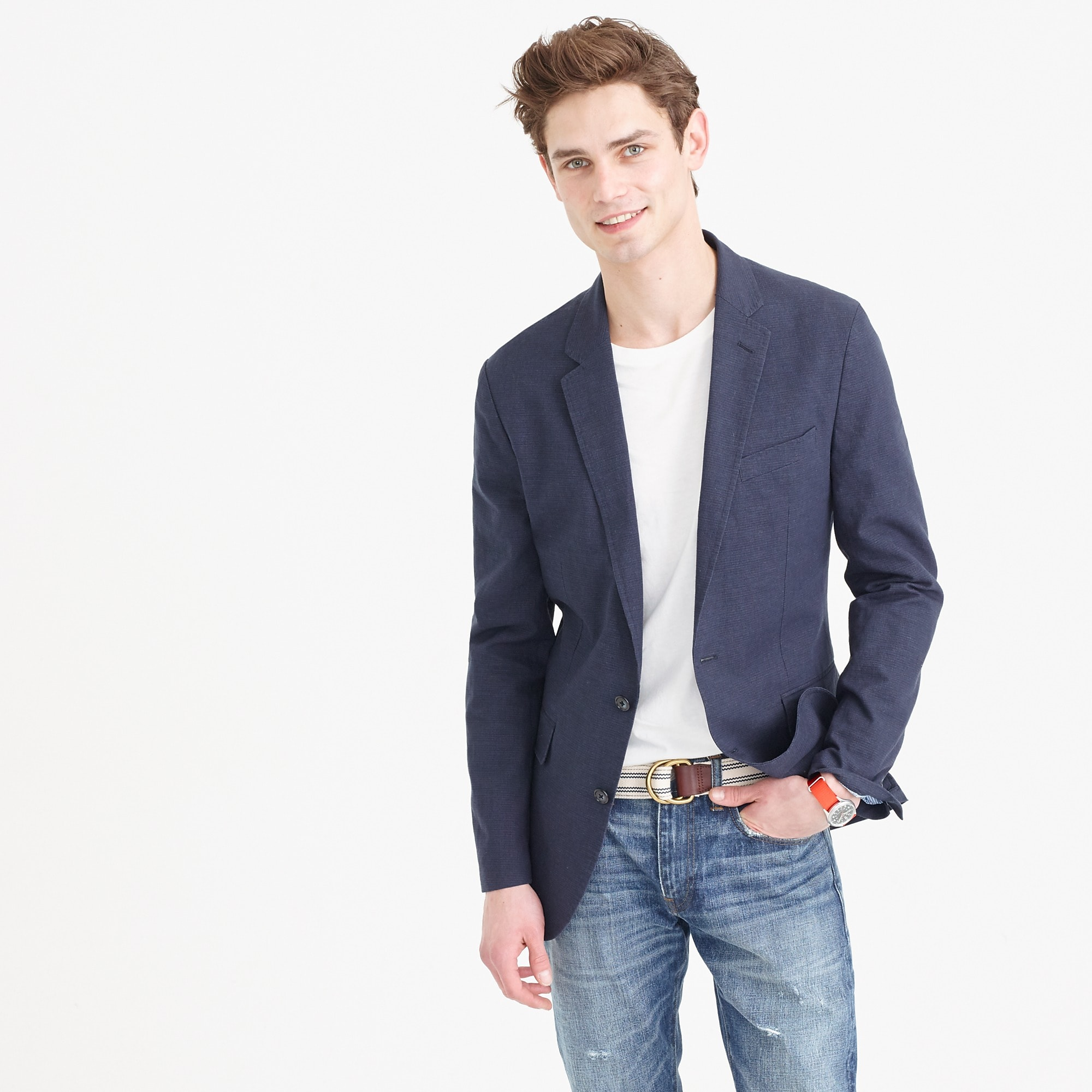 Ludlow Summerweight Cotton-Linen Blazer In Coastline Navy : Men's ...
