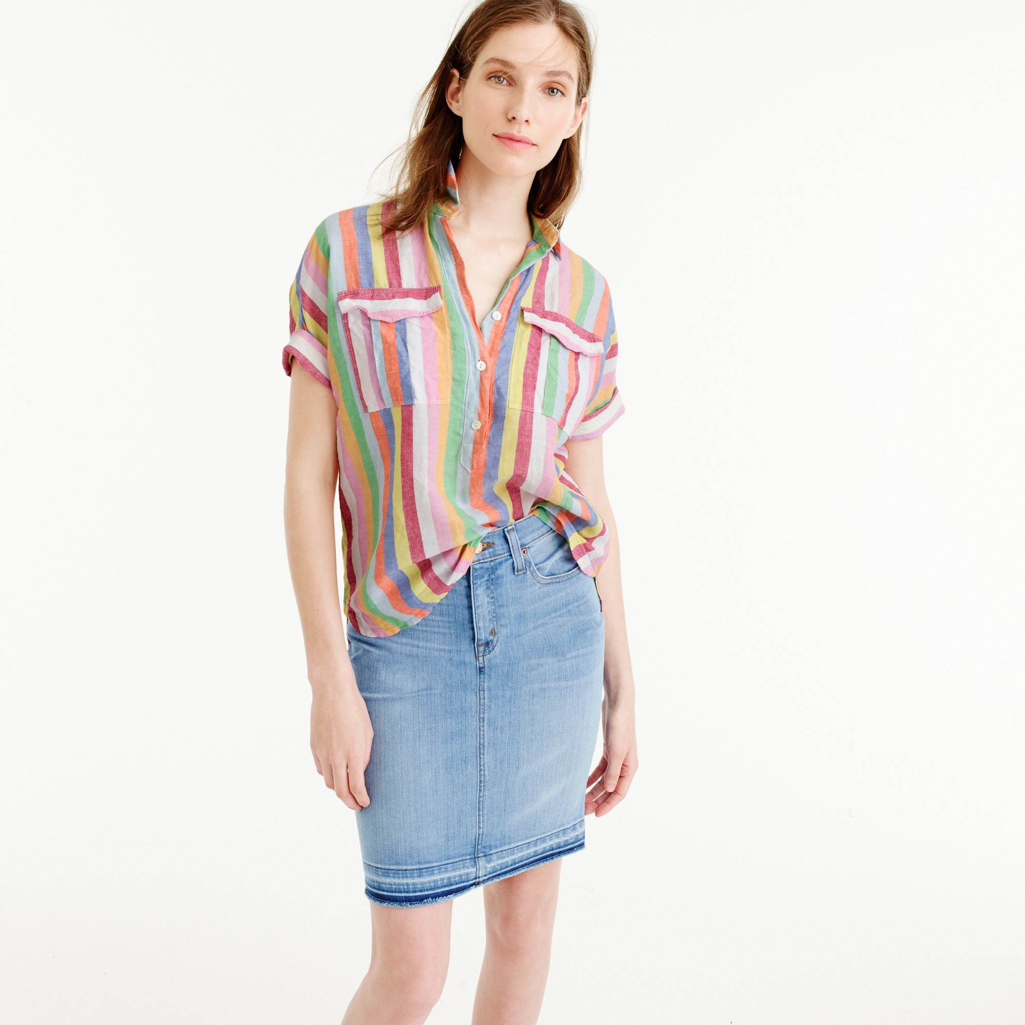 Petite short-sleeve popover shirt in candy stripe