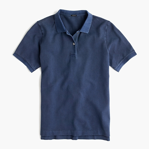 garment-dyed piqu eacute  polo shirt   women short sleeve e8ebe1fc93