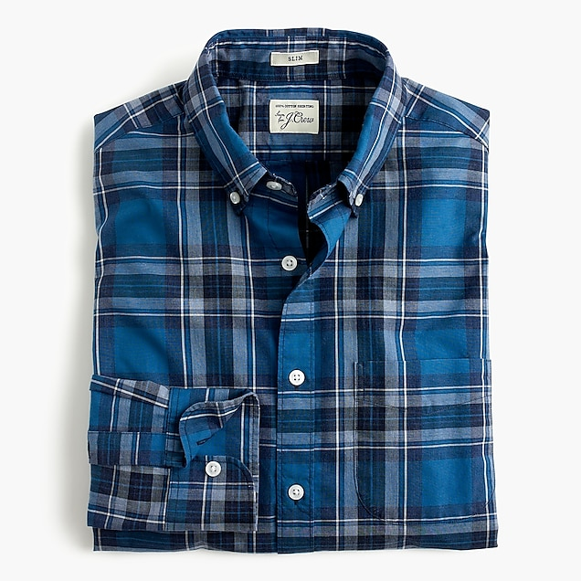 Secret Wash shirt in heather classic blue tartan