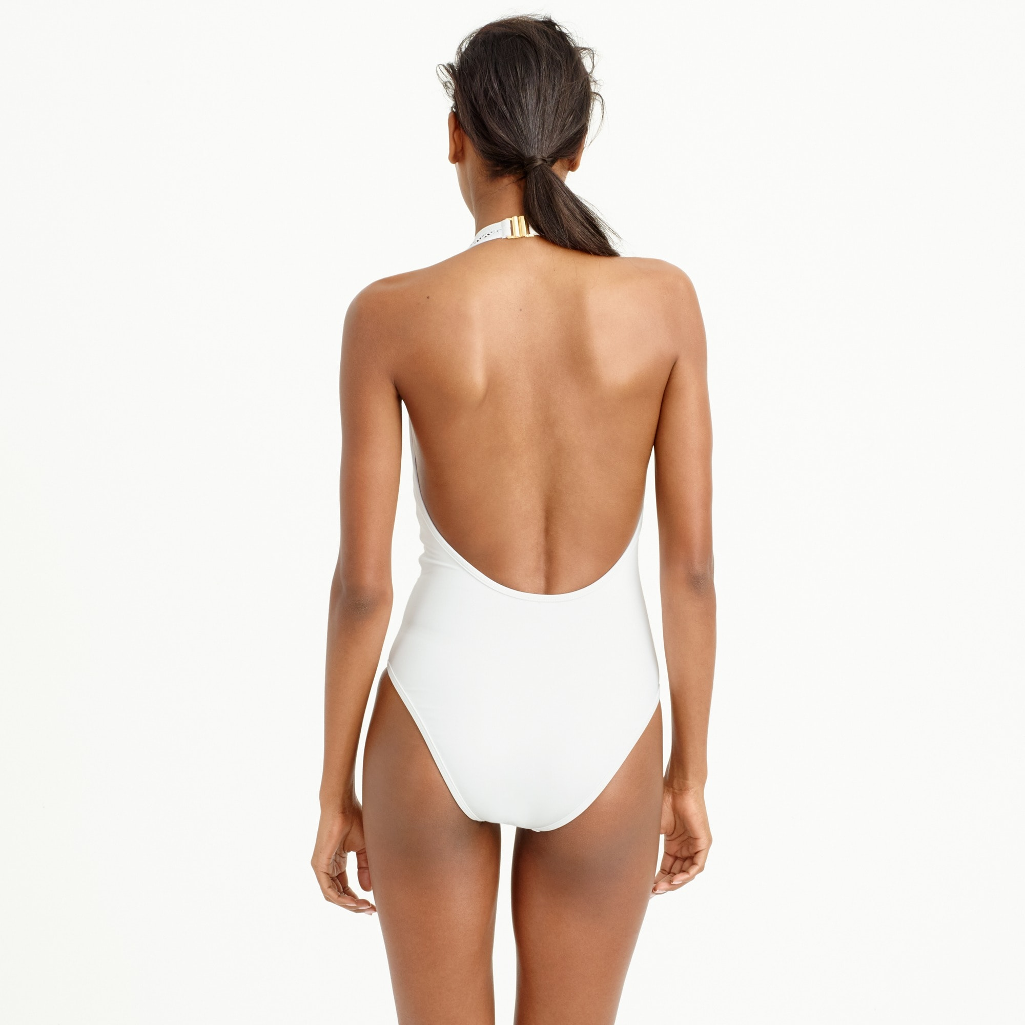 Image 3 for Mesh halter one-piece swimsuit