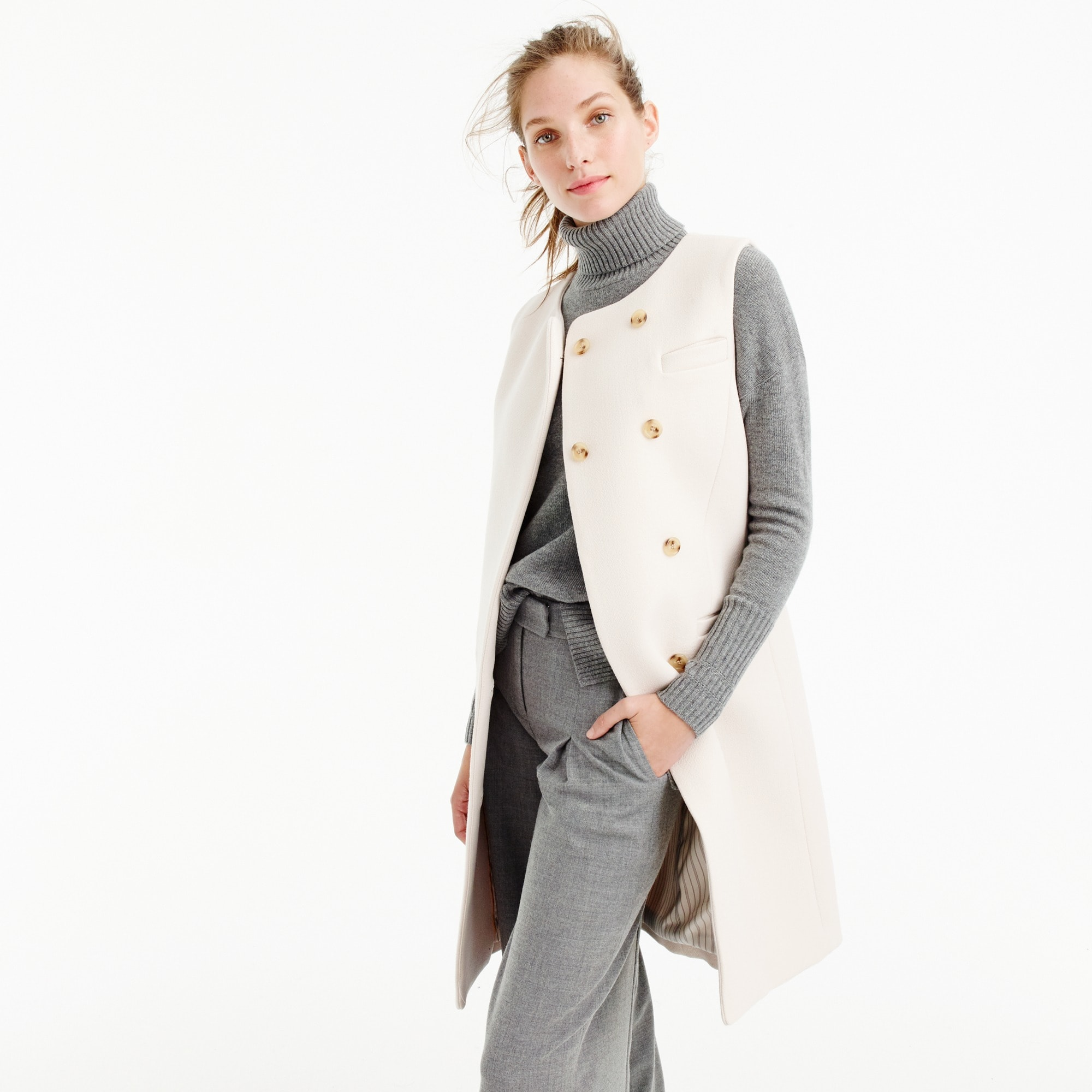 belted vest in italian wool : women's coats & jackets