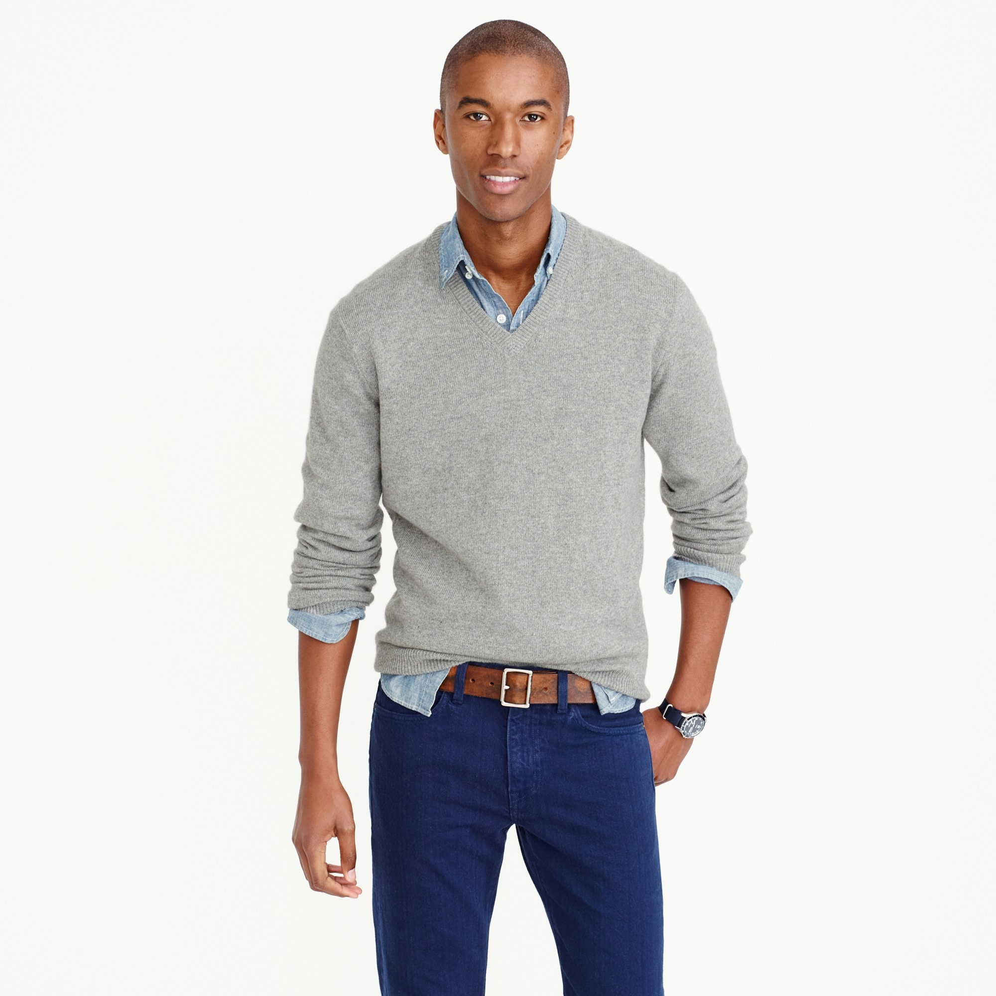 slim italian cashmere v-neck sweater : men's cashmere