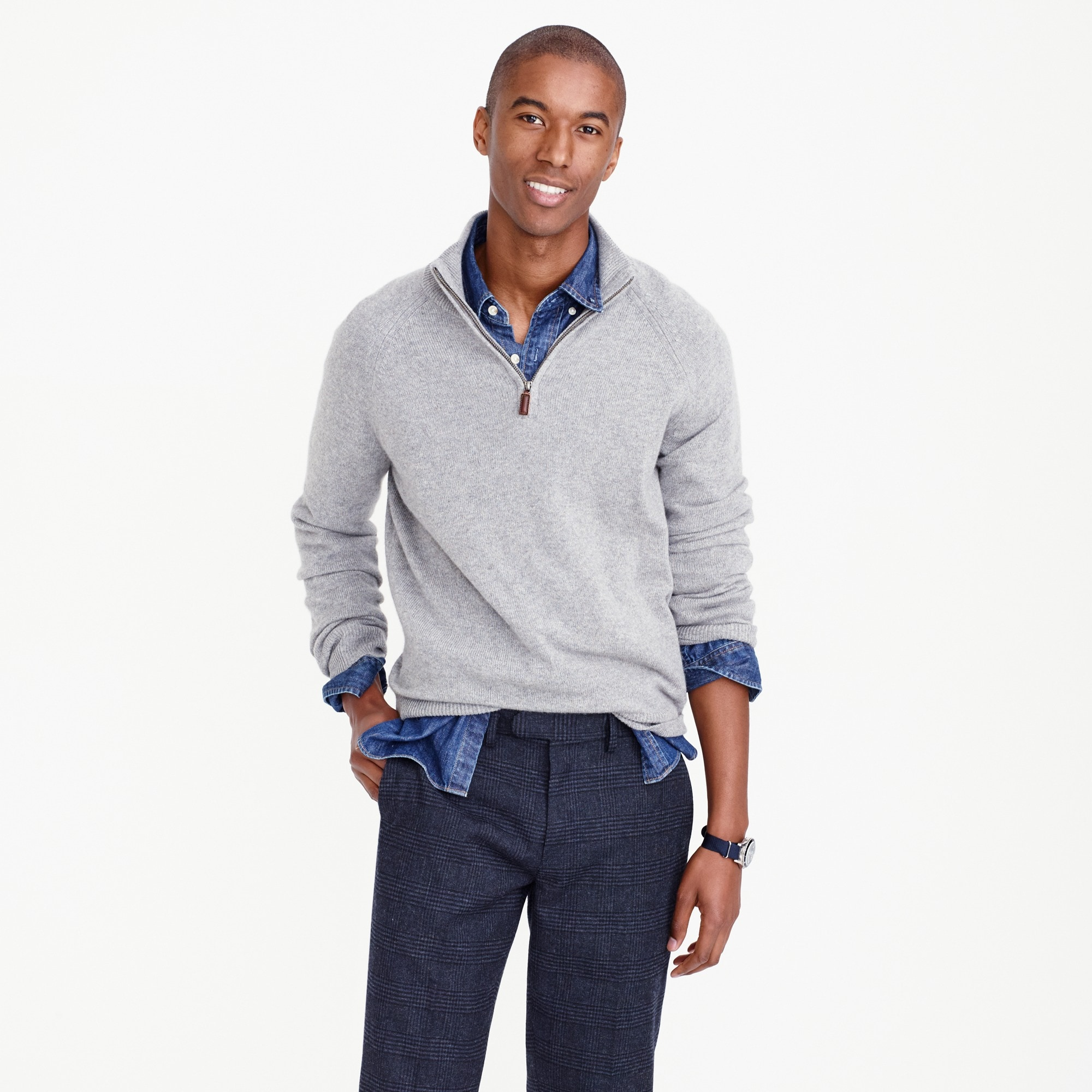 men's italian cashmere half-zip sweater - men's sweaters
