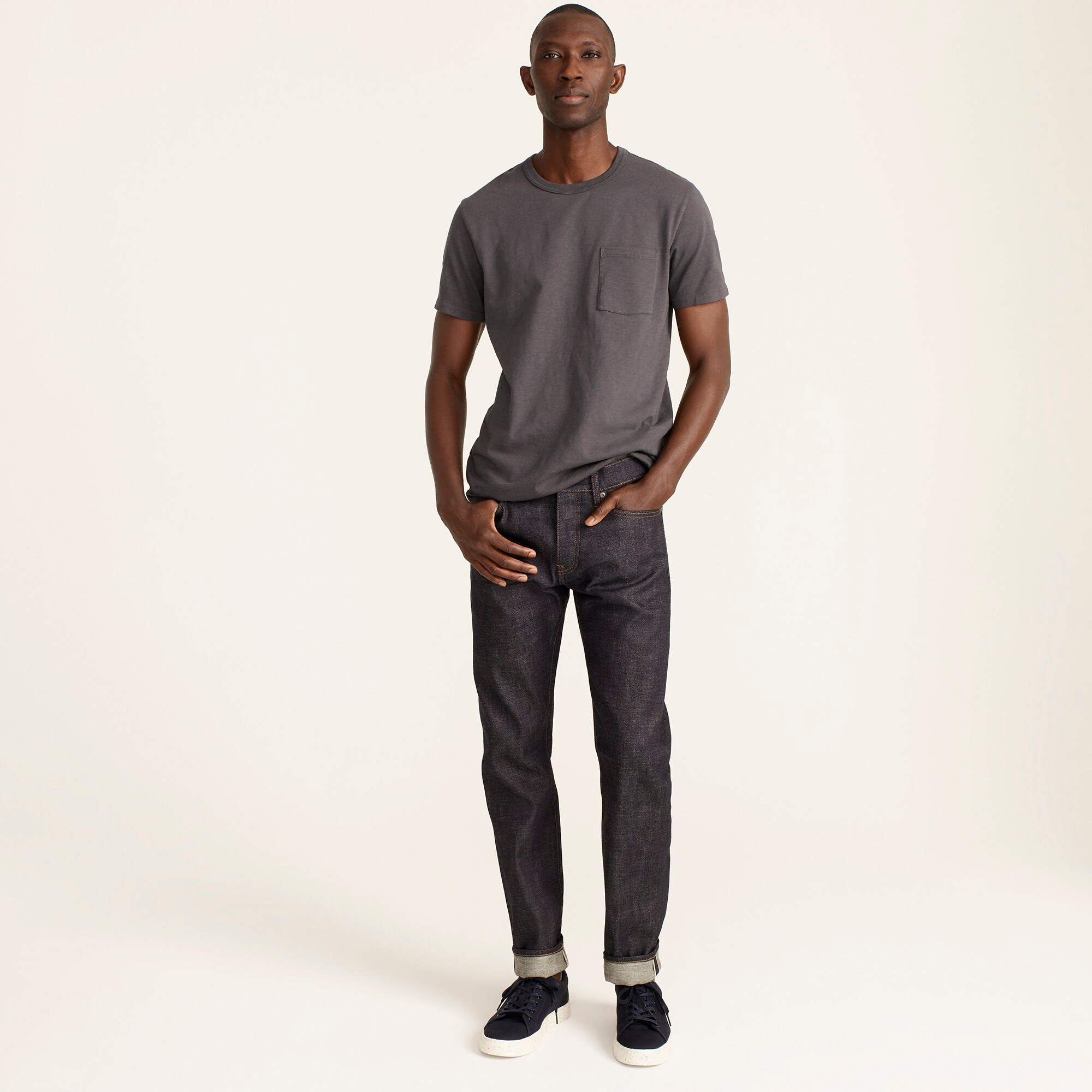 mens 484 Slim-fit jean in raw indigo stretch selvedge