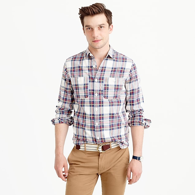 Midweight flannel shirt in alabaster plaid
