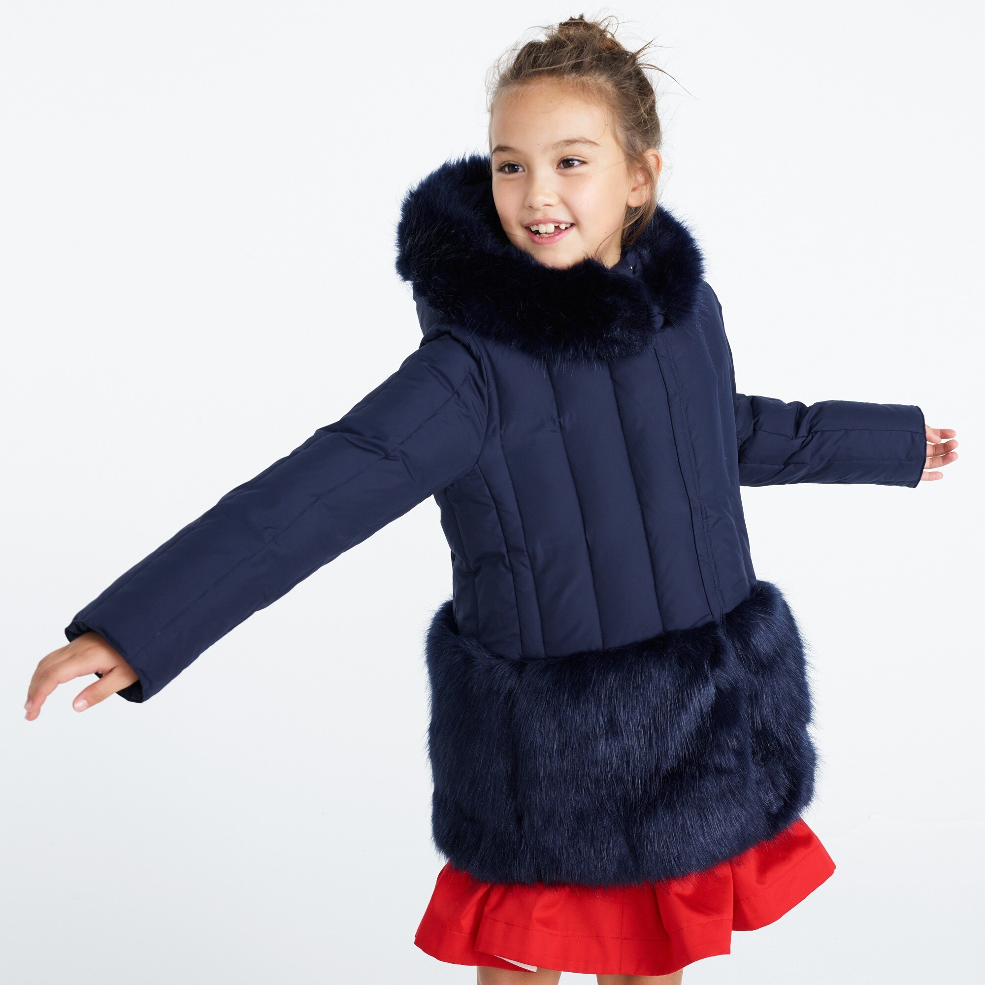Girls' fur-trimmed puffer coat
