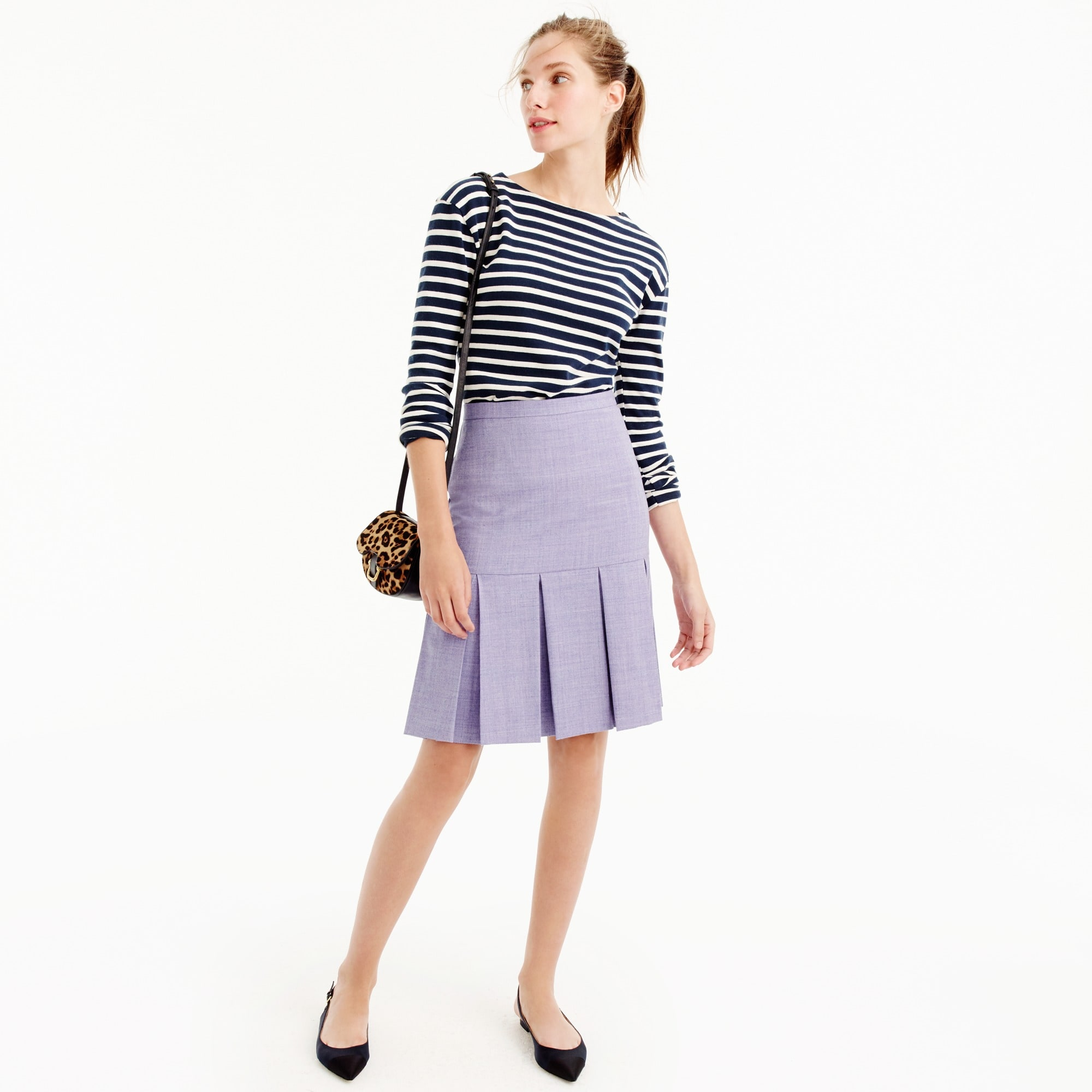 Petite box-pleated skirt in wool flannel