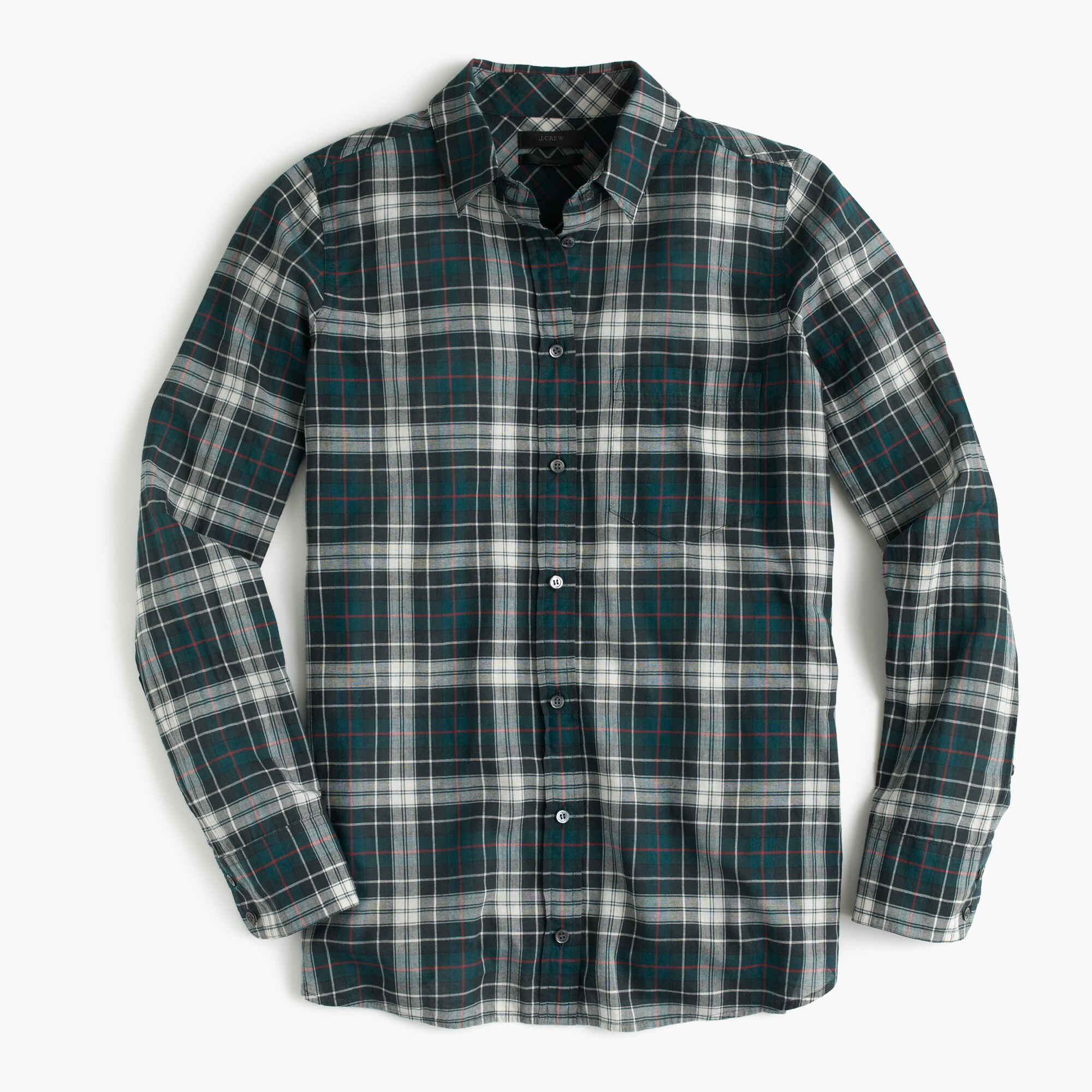 Petite boy shirt in crinkle plaid
