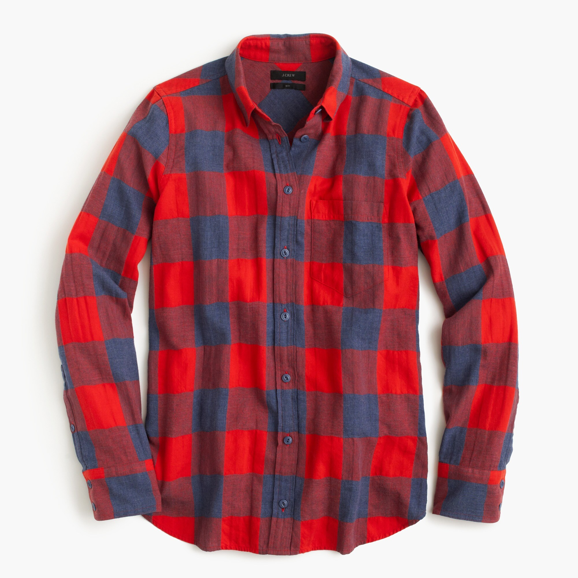 Boy shirt in fiery sunset buffalo check