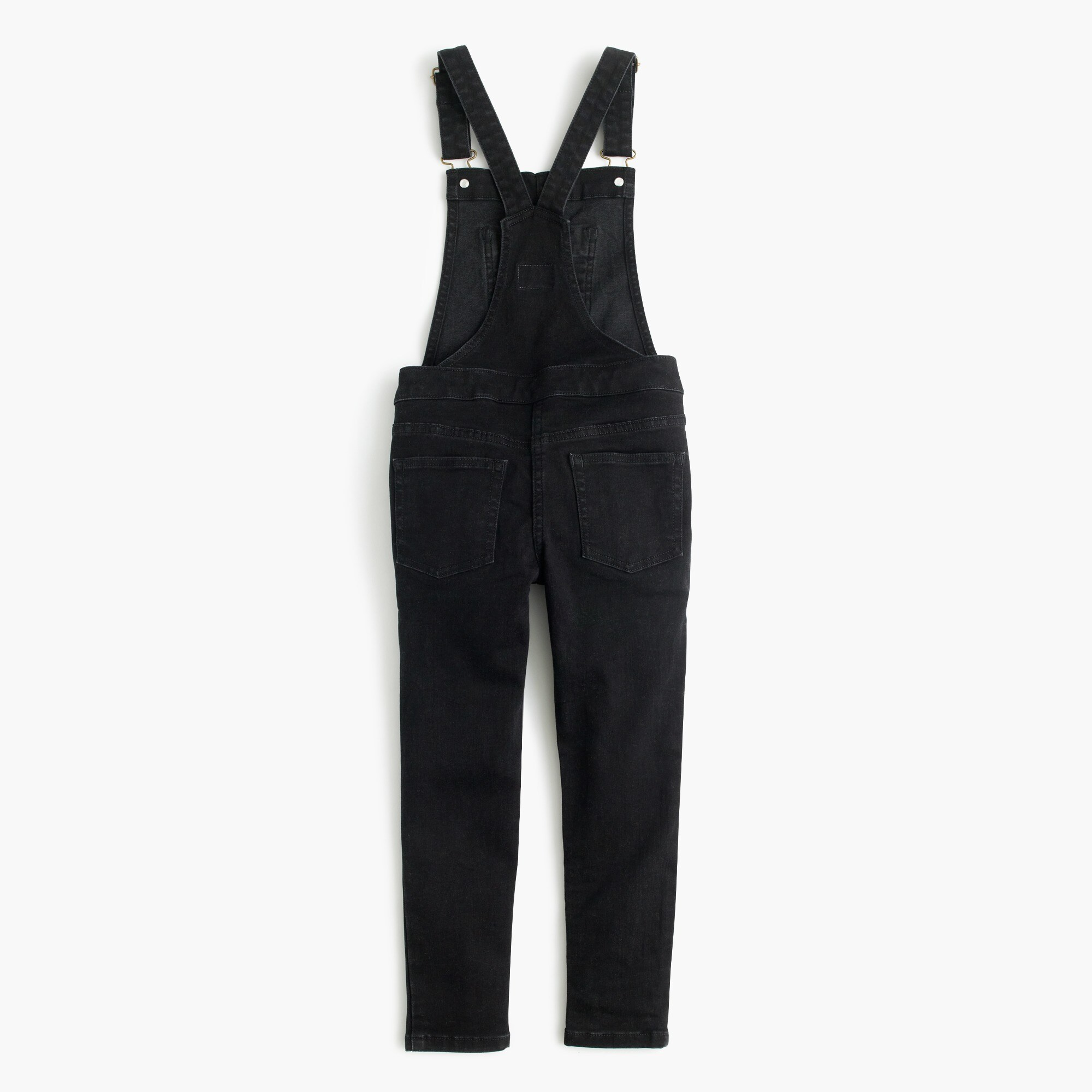 Girls' stretch denim overalls in black