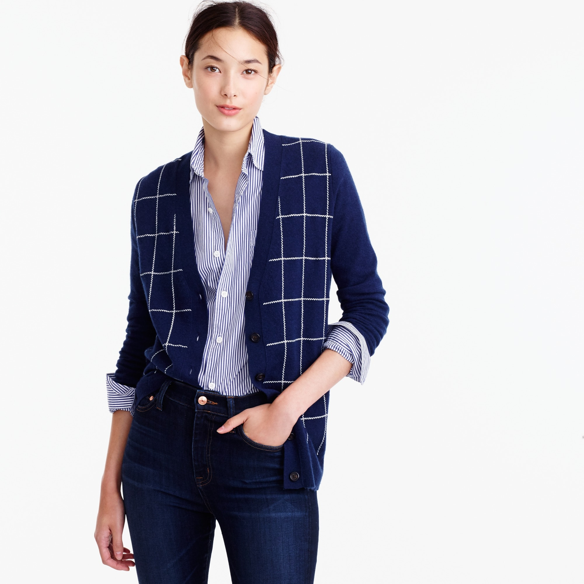 Classic V-neck cardigan sweater in windowpane print