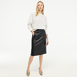 Collection A-line midi skirt in leather