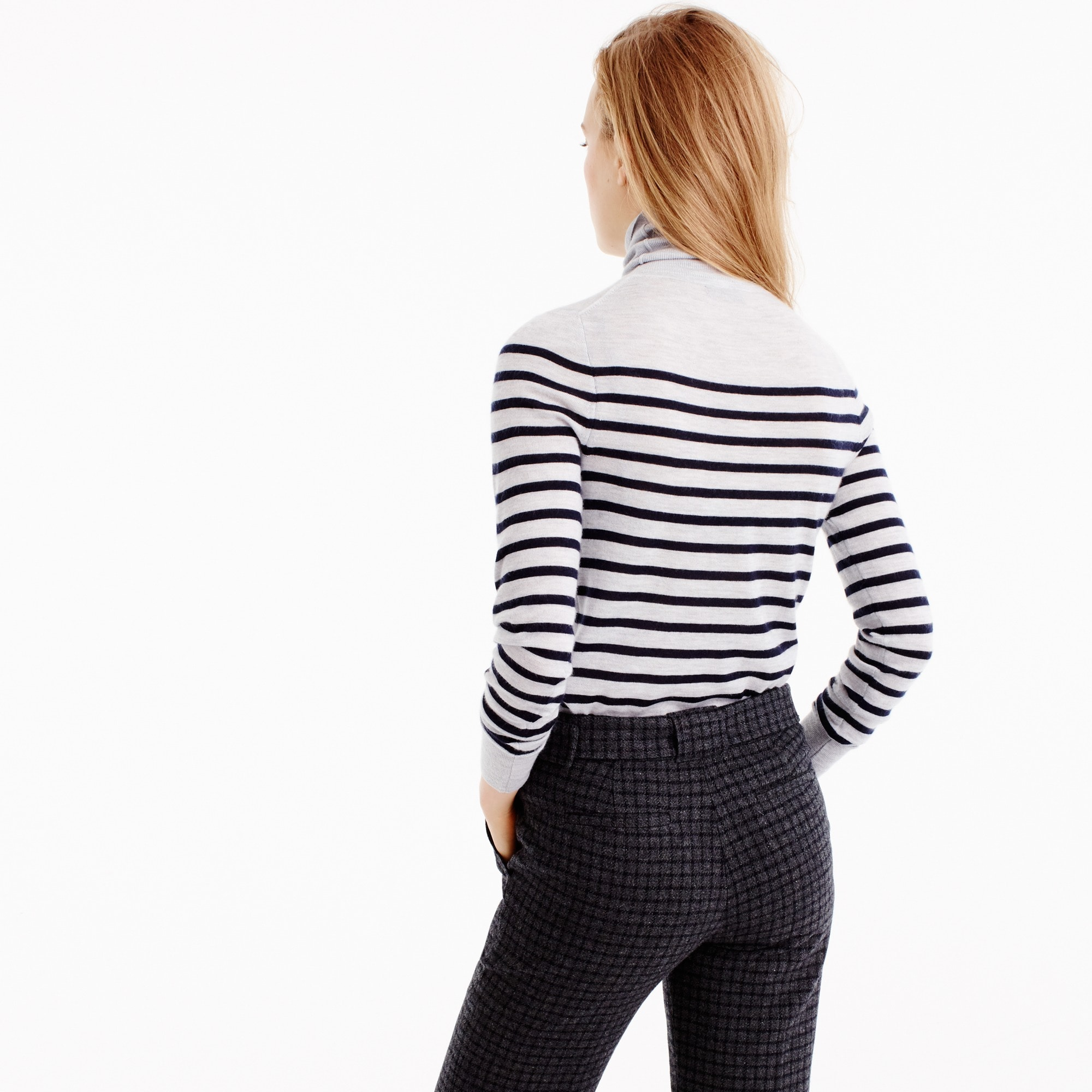Italian featherweight cashmere turtleneck in stripe