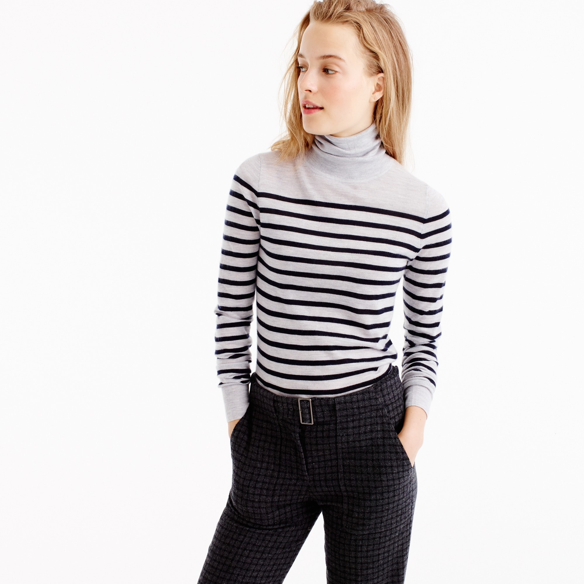 italian featherweight cashmere turtleneck in stripe : women's cashmere sweaters