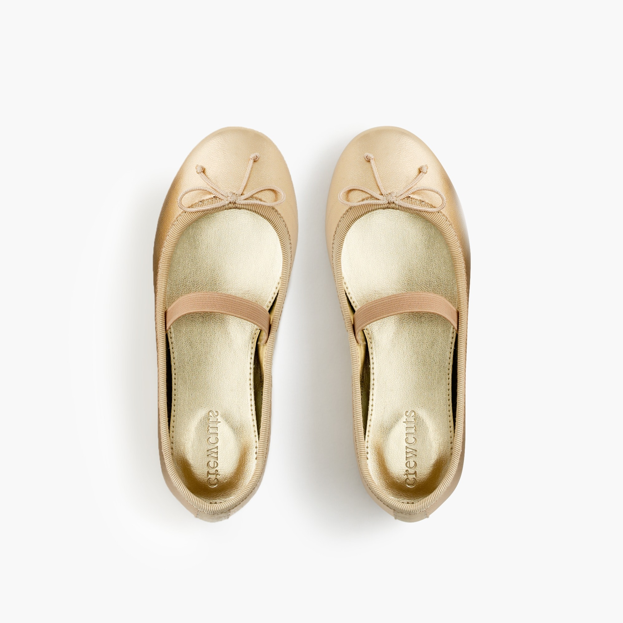 Image 2 for Girls' classic metallic leather ballet flats