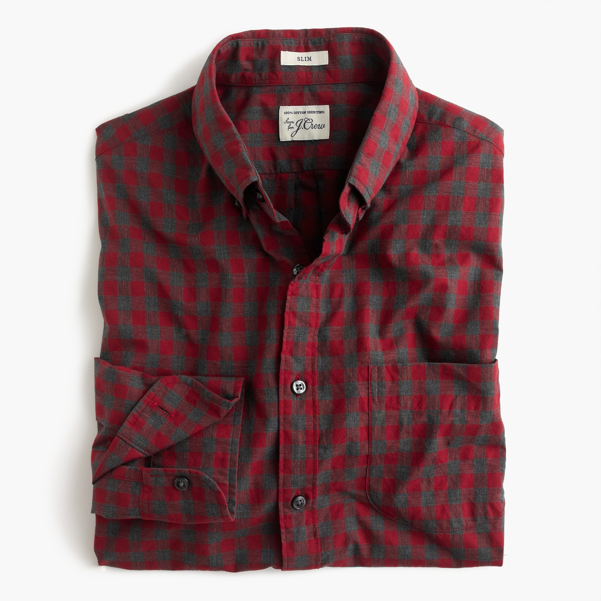 slim secret wash shirt in red gingham heather poplin : men's shirts