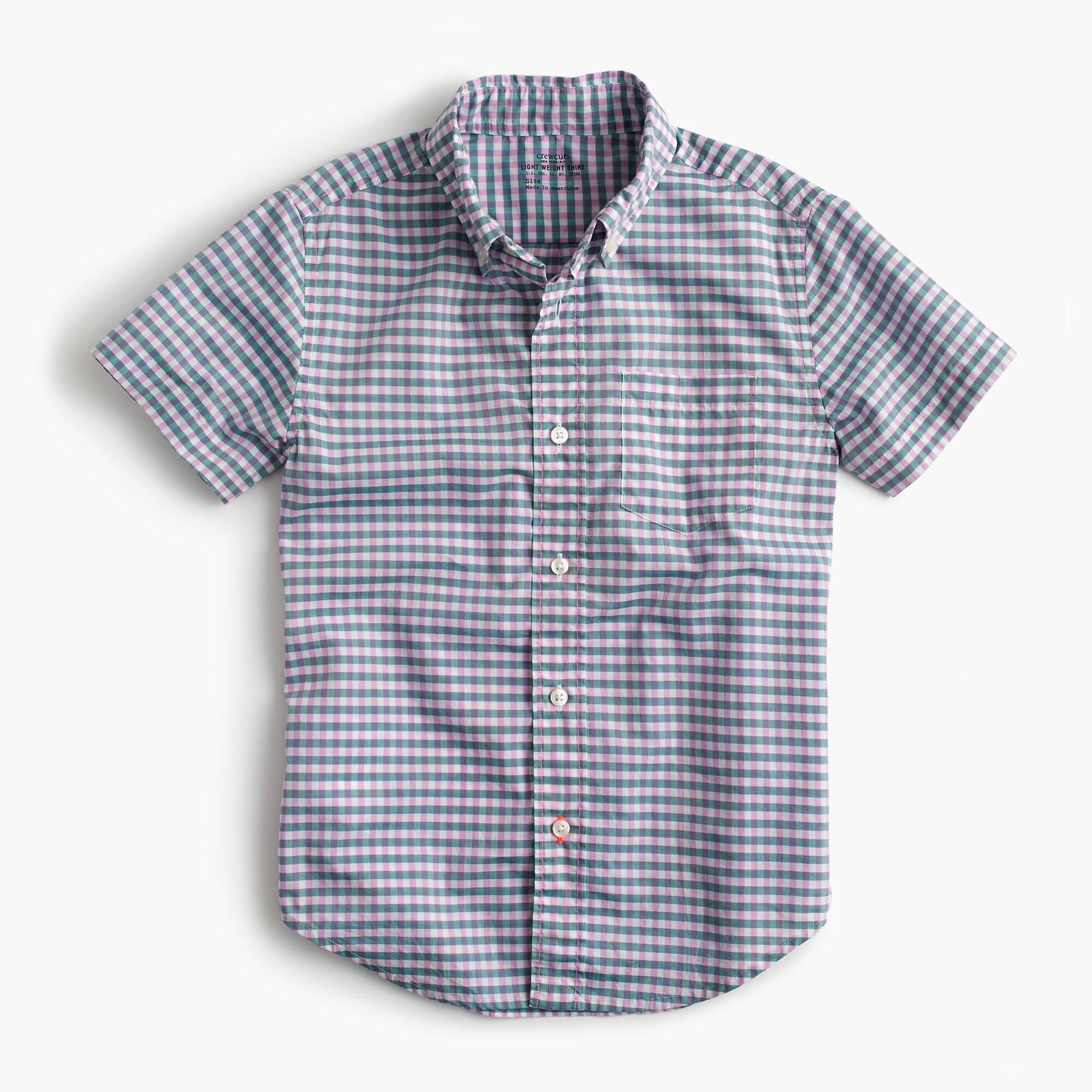 kids' short-sleeve secret wash shirt in micro gingham : boy short sleeve