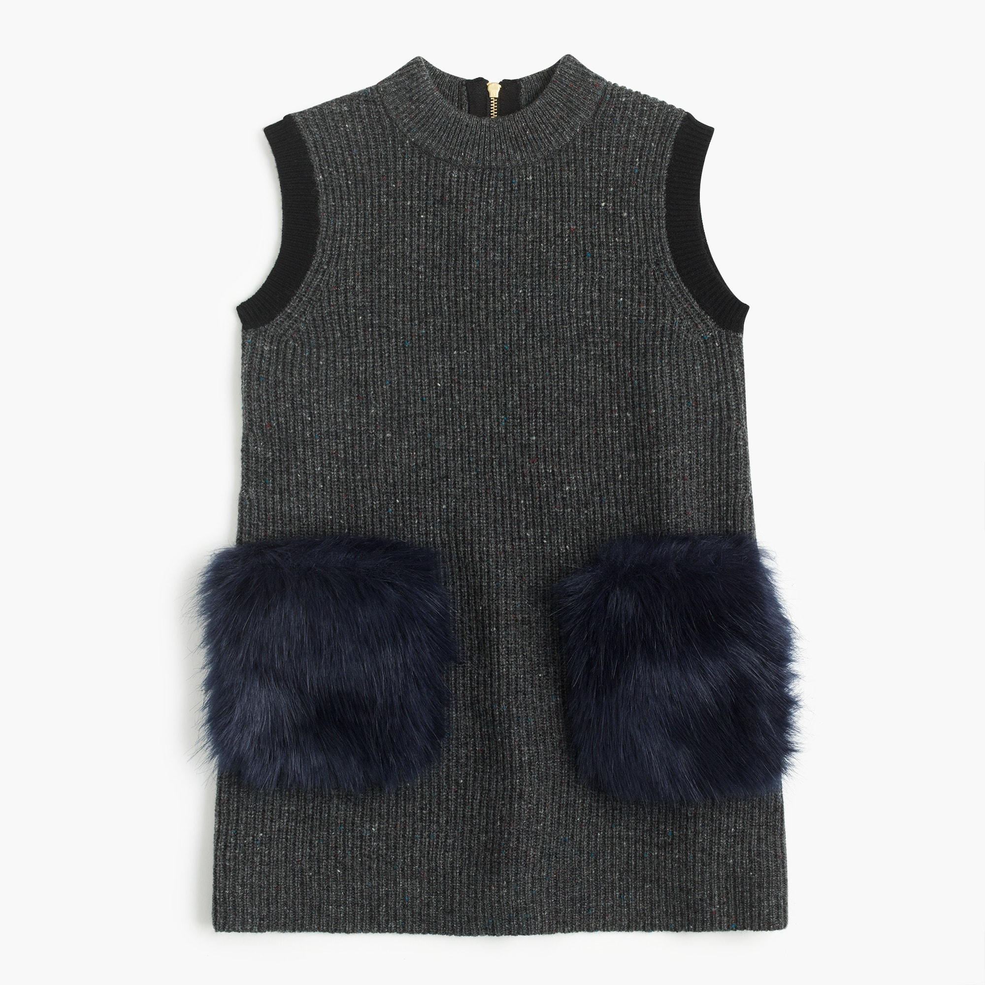 Girls' faux-fur pocket sweater-dress