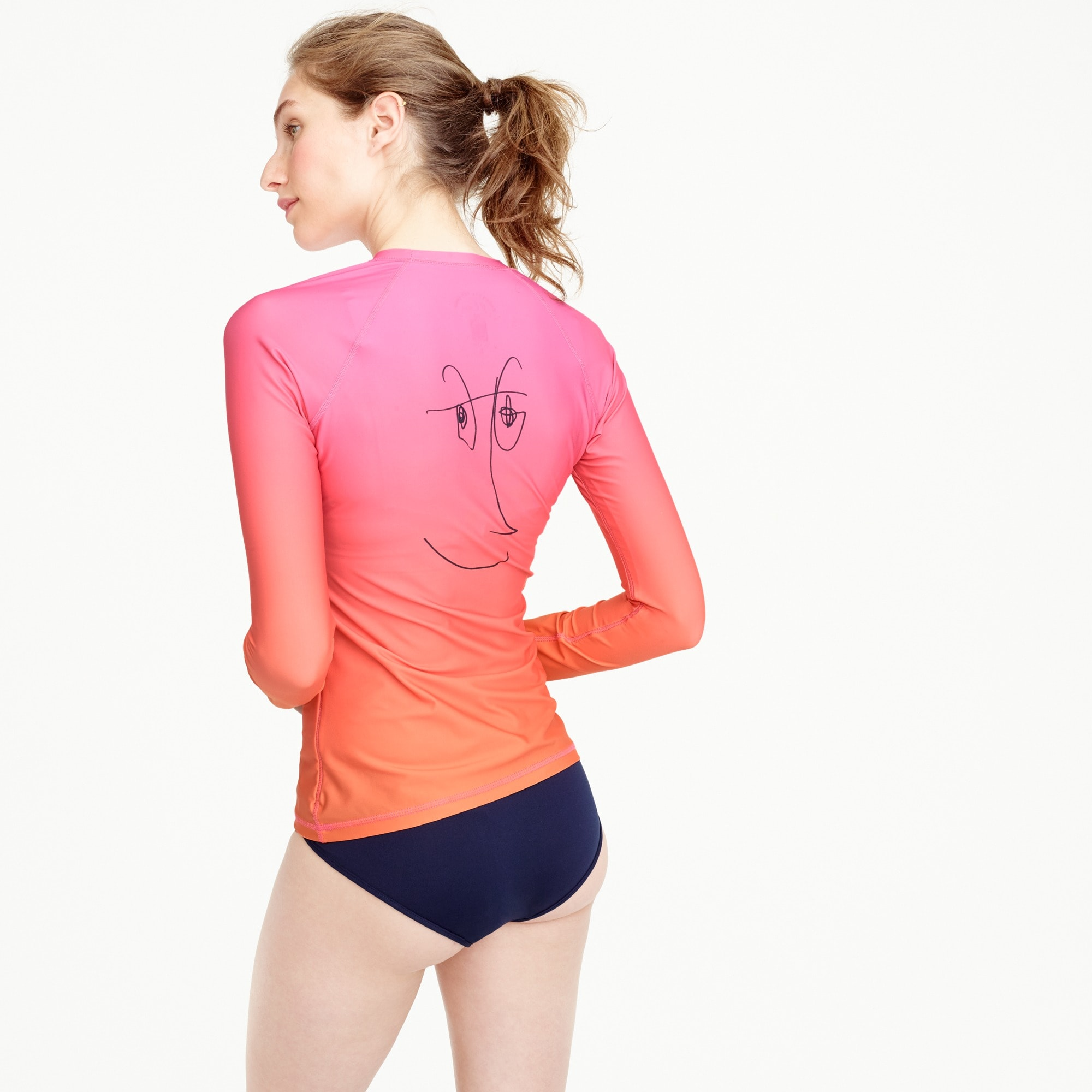 rob pruitt for j.crew rash guard in pink orange multi : women's swim