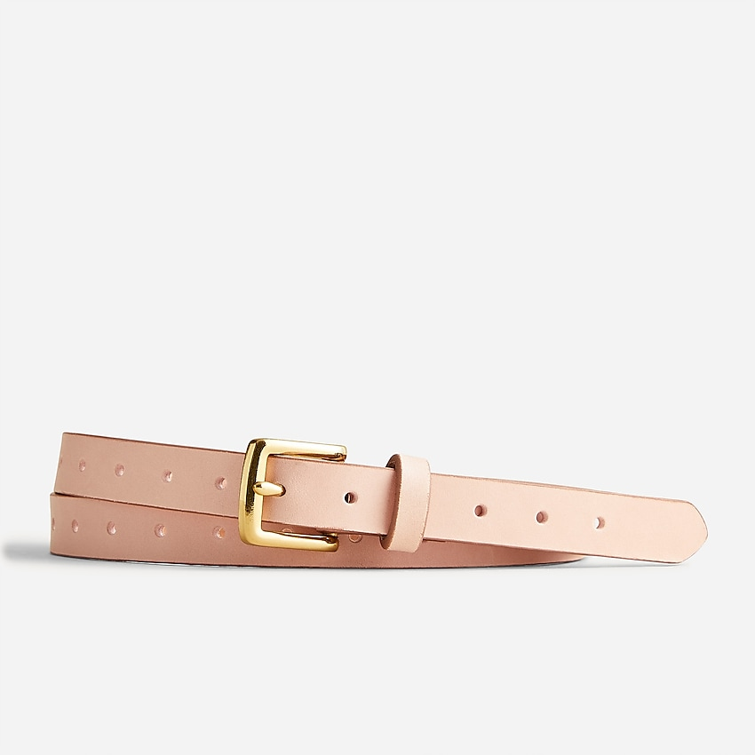 j.crew: perforated italian leather belt for women, right side, view zoomed