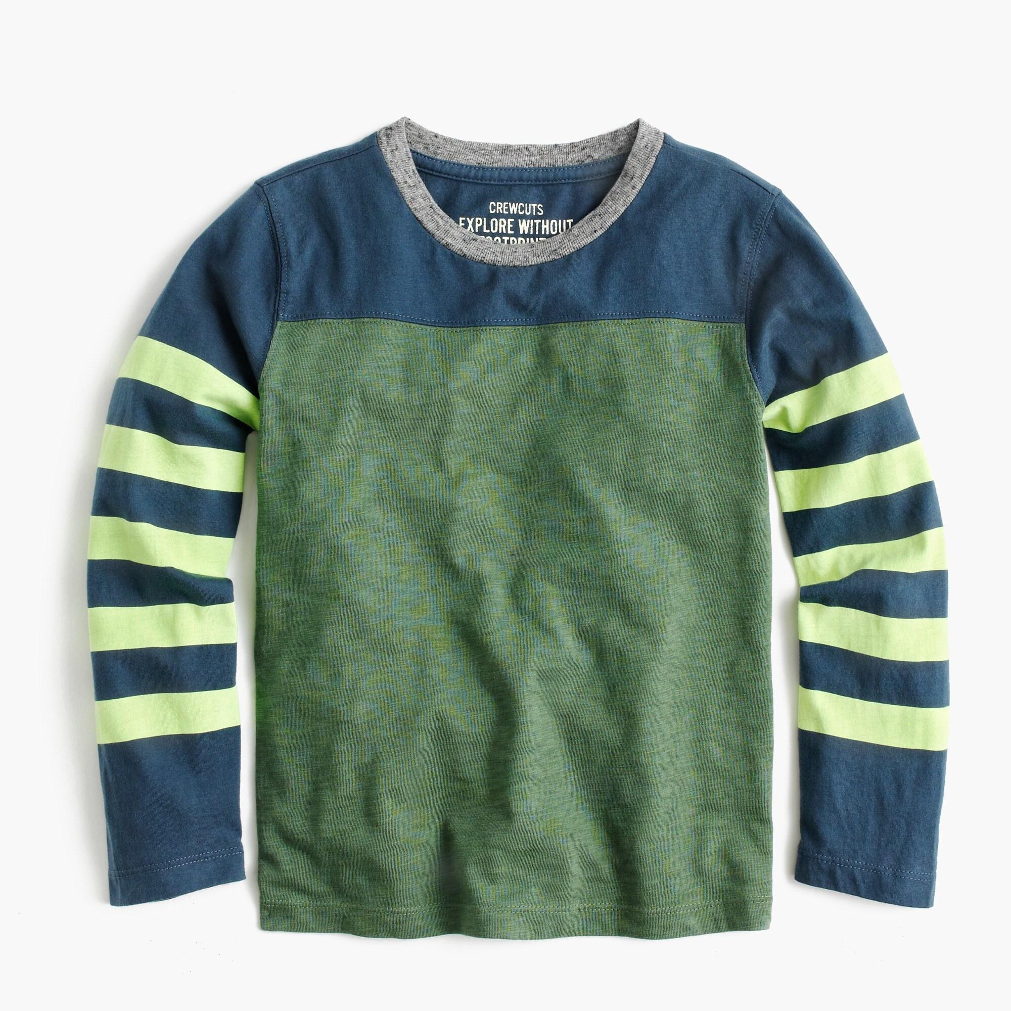 boys' long-sleeve stripe-sleeve t-shirt : boys' novelty tees
