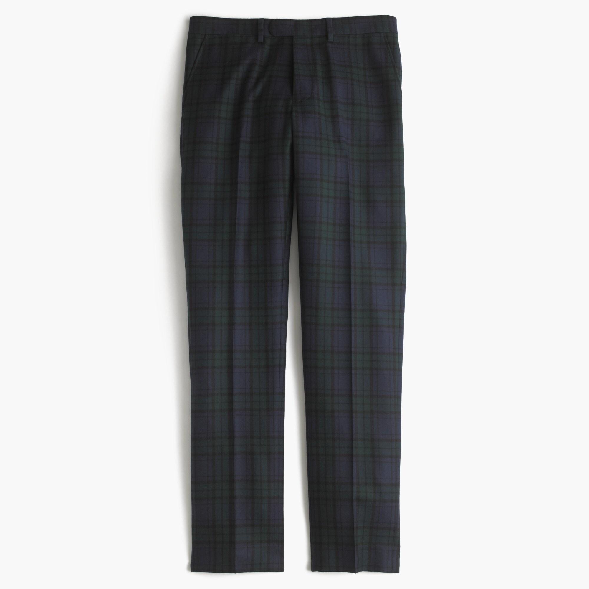 Bowery slim pant in green plaid English wool