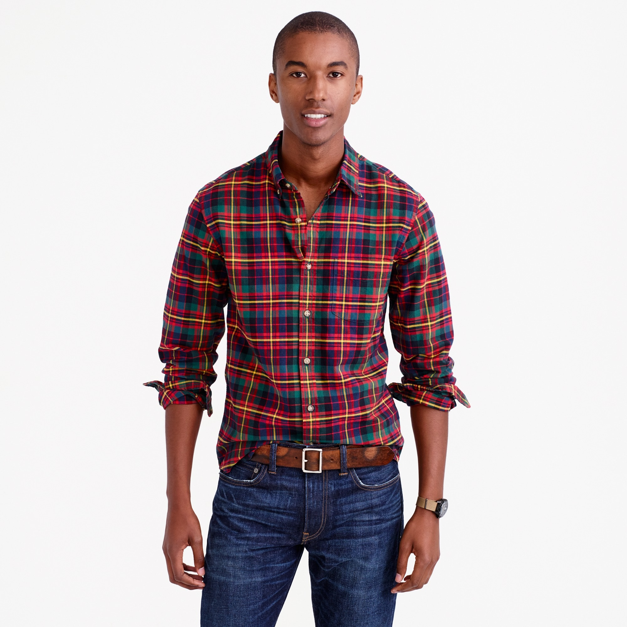 Slim oxford shirt in multicolor tartan