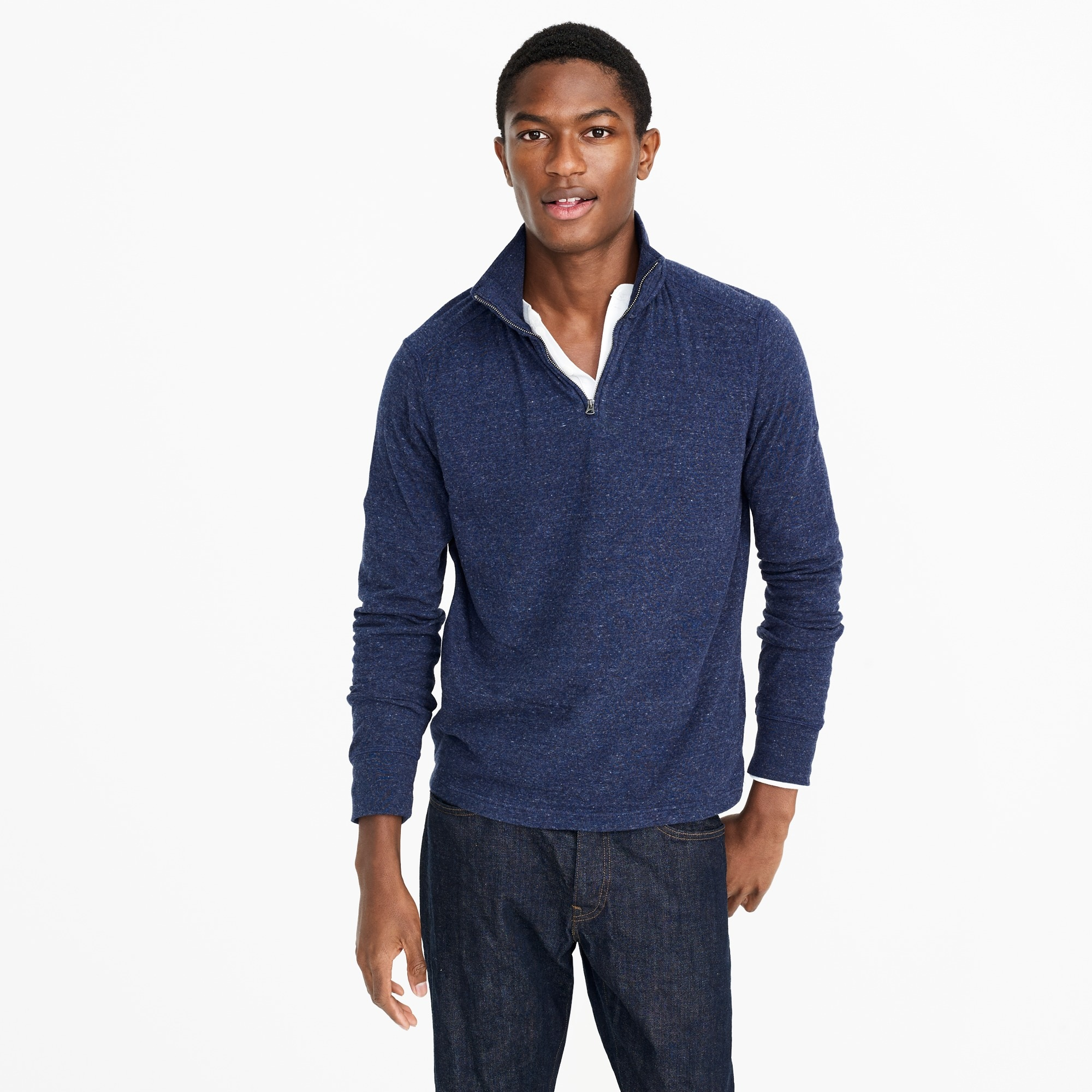 Image 1 for Tall double-knit half-zip pullover