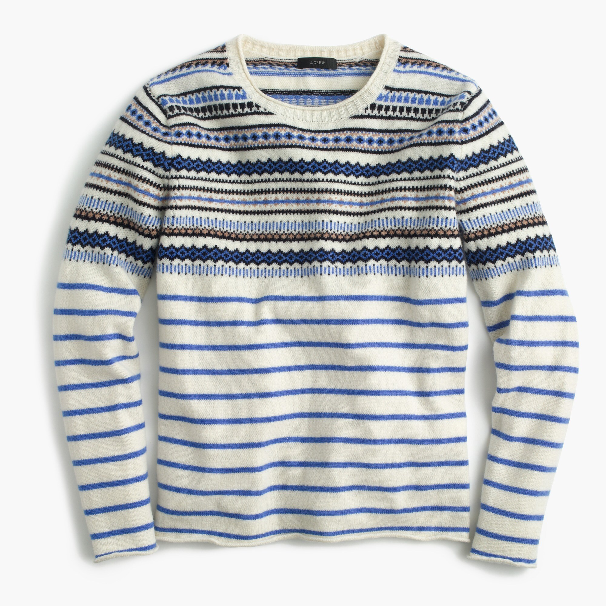Lightweight wool Fair Isle striped sweater