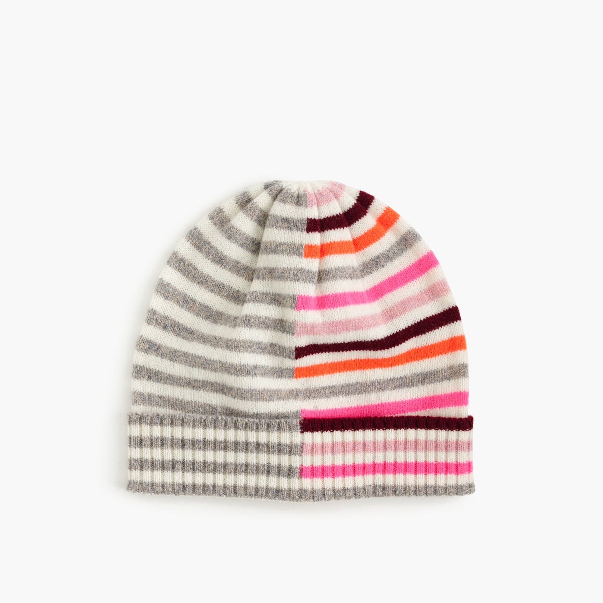 Mixed-stripe merino wool beanie hat
