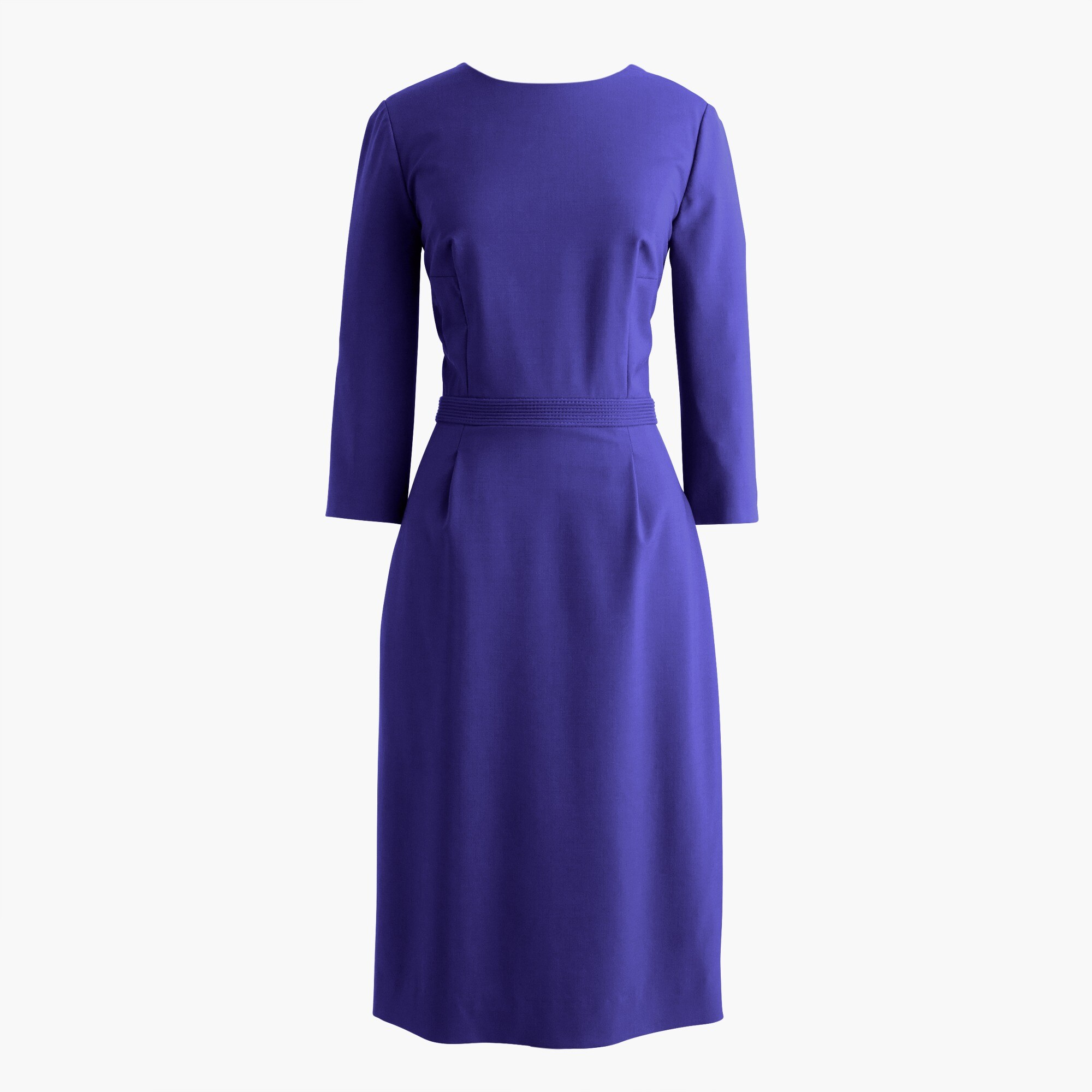 Petite bracelet-sleeve dress in Italian stretch wool
