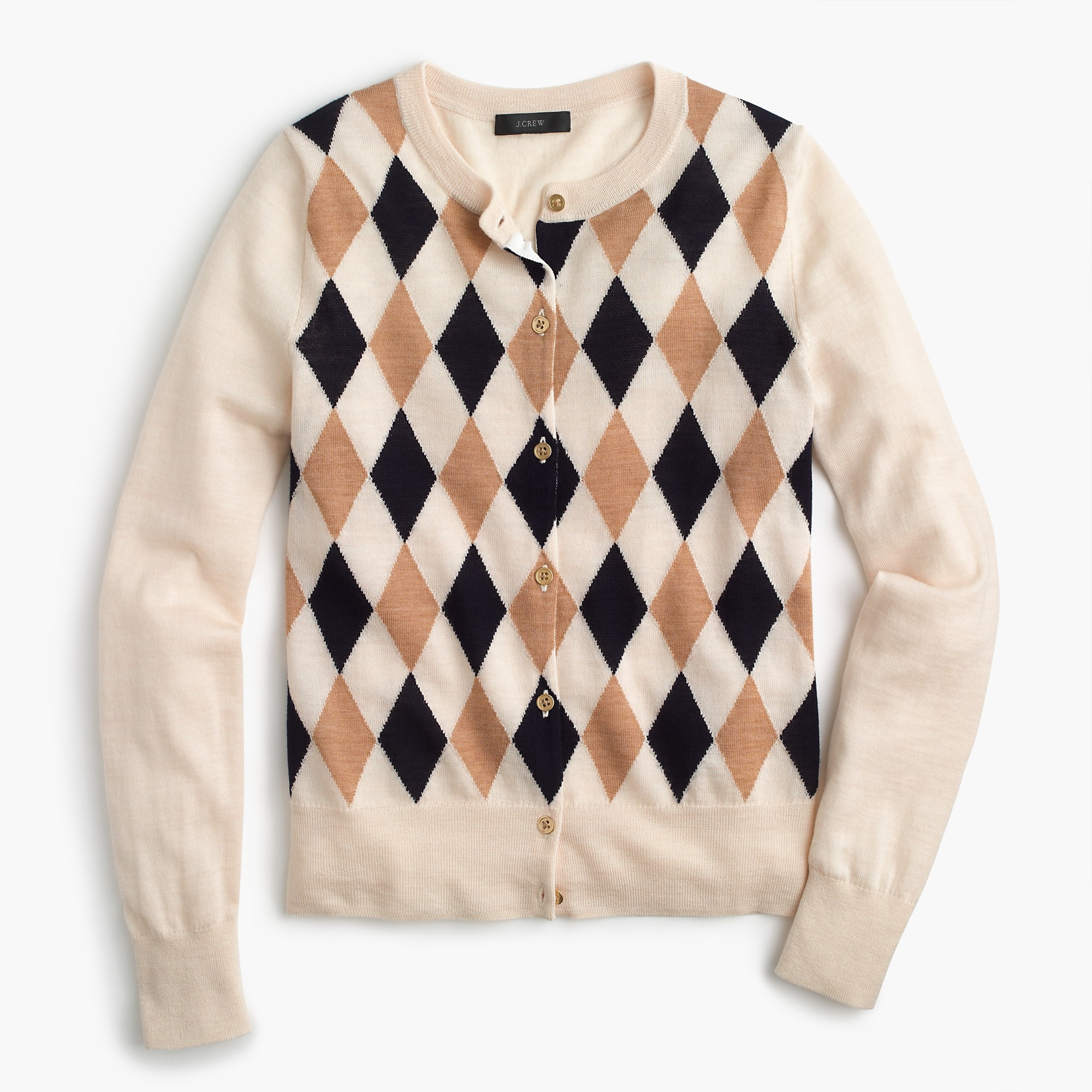 Lightweight wool Jackie cardigan sweater in argyle